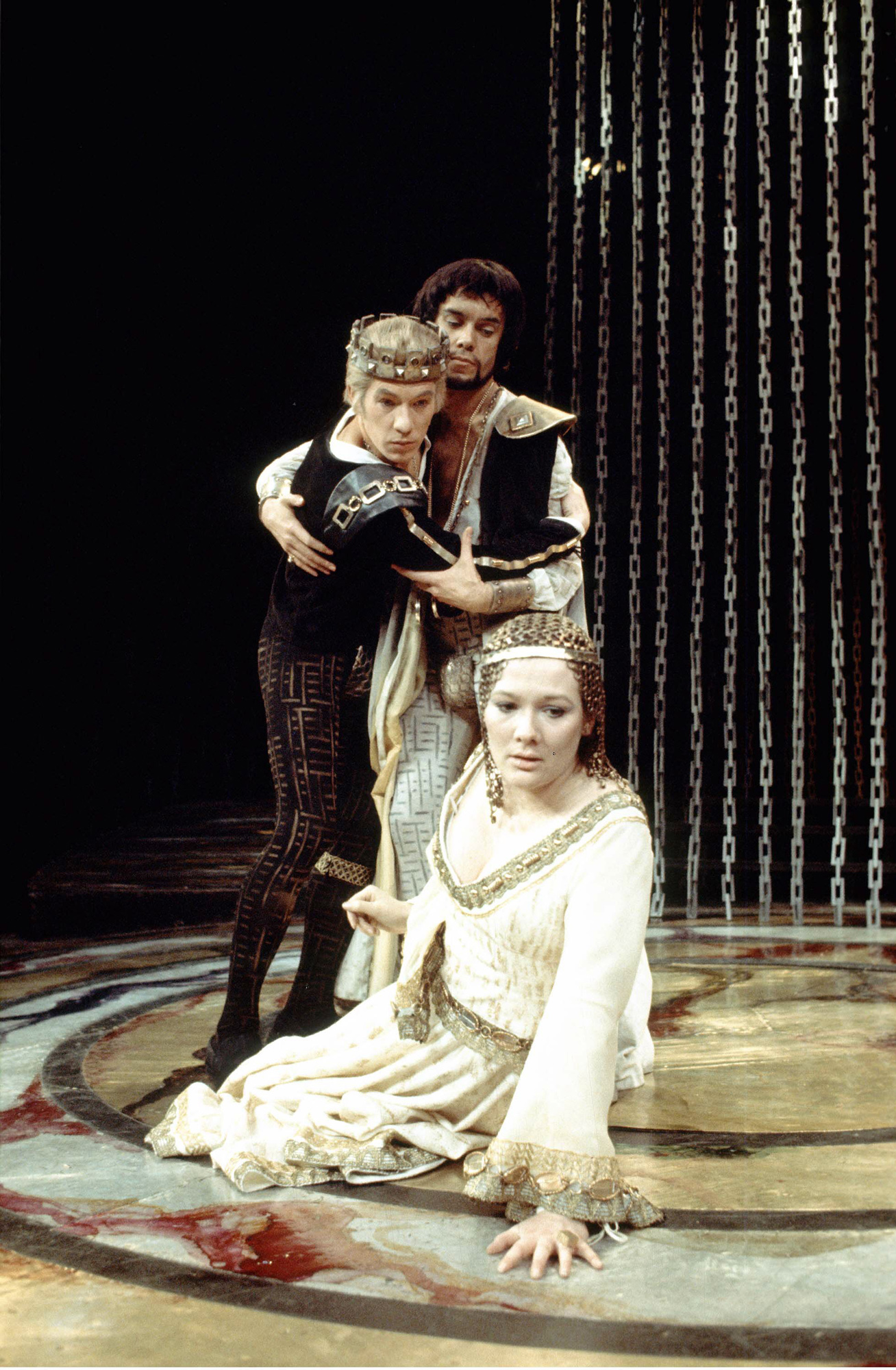 Photograph of Ian McKellen, James Laurenson and Diane Fletcher in Marlowe's Edward II, 1970