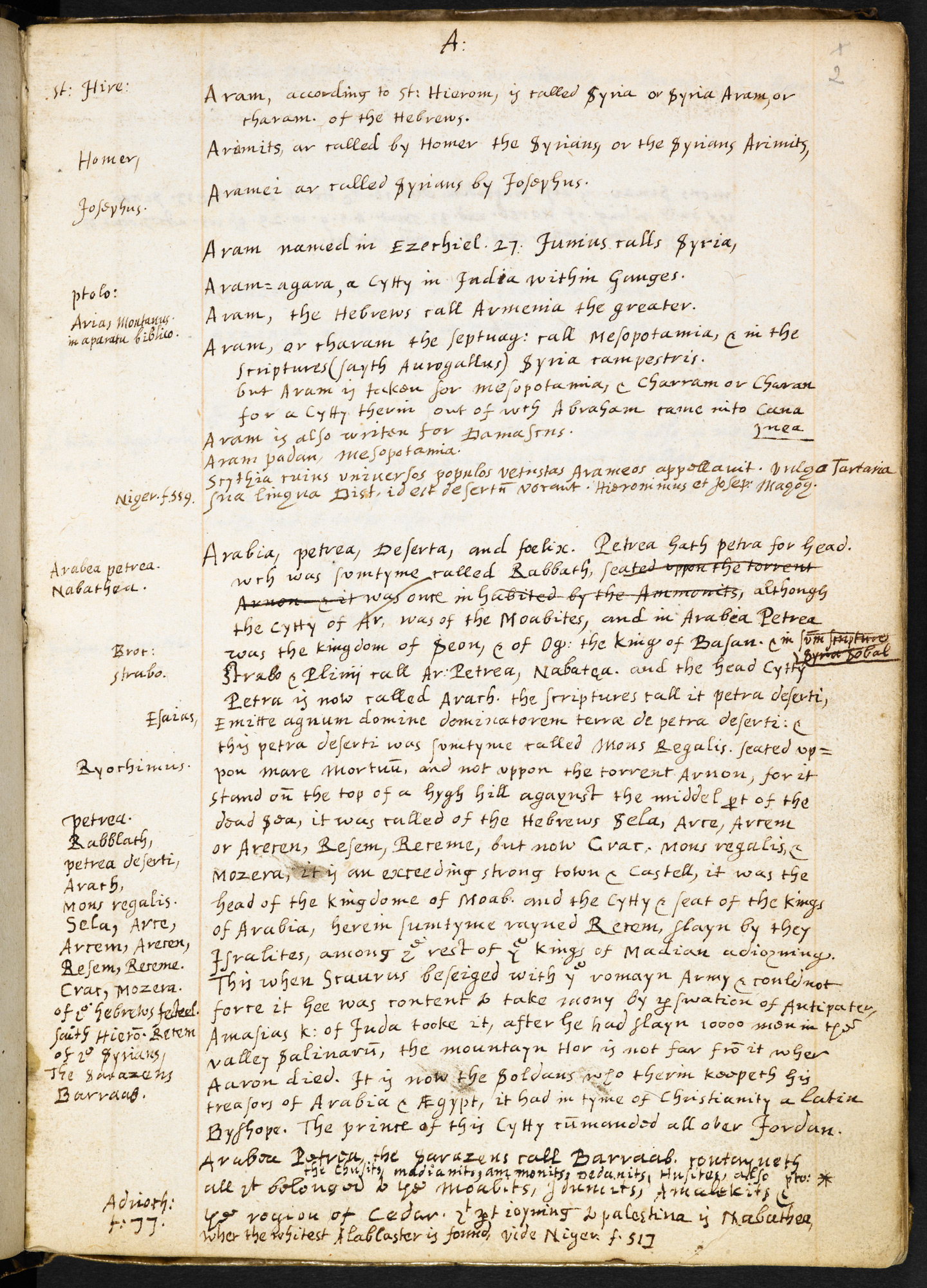 Sir Walter Raleigh's Notebook for his History of the World