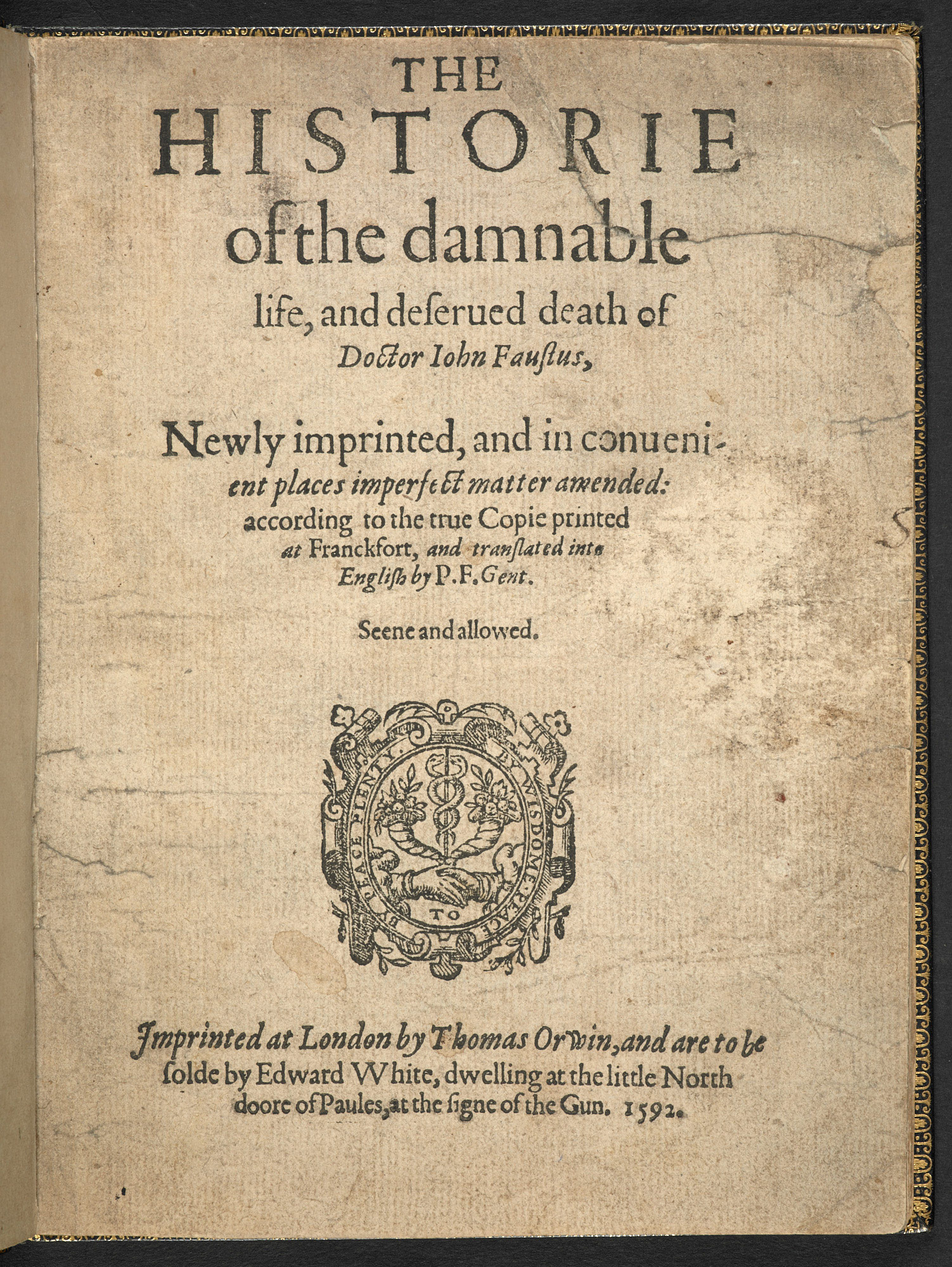The English Faustbuch, 1592