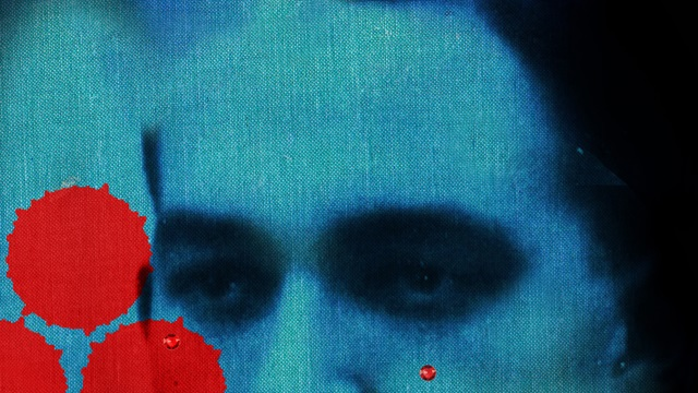 Contemporary illustration featuring a close crop of a man's face and blood-like drops across the image