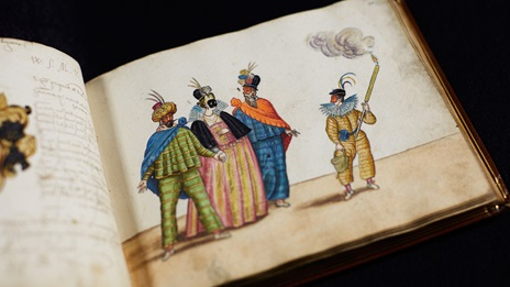 Hand painted illustration of travelling troupe of masked players