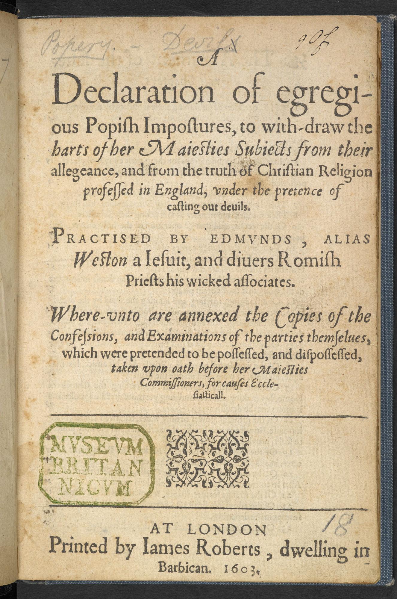A Declaration of Egregious Popish Impostures by Samuel Harsnett, 1603