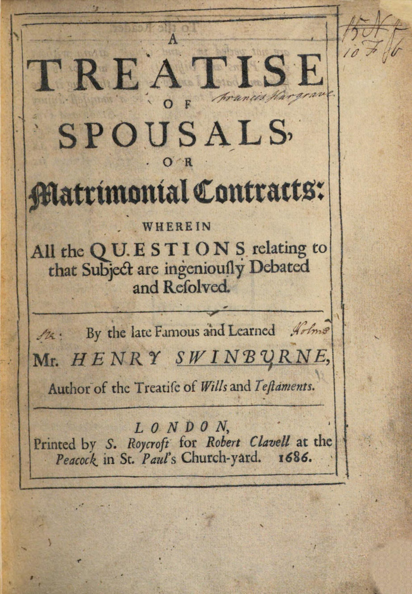 A Treatise of Spousals by Henry Swinburne, 1686