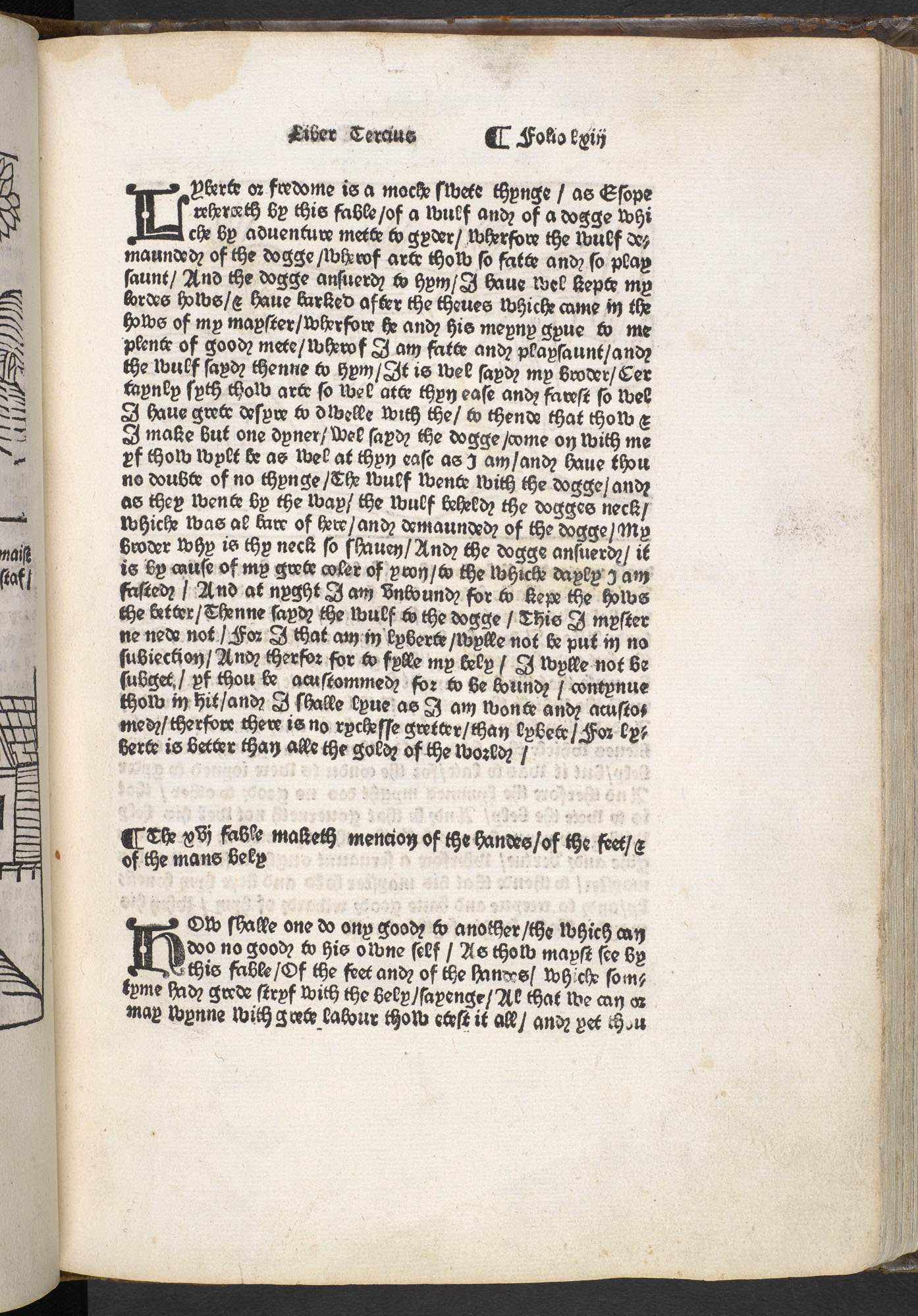 Aesop's Fables printed by William Caxton, 1484