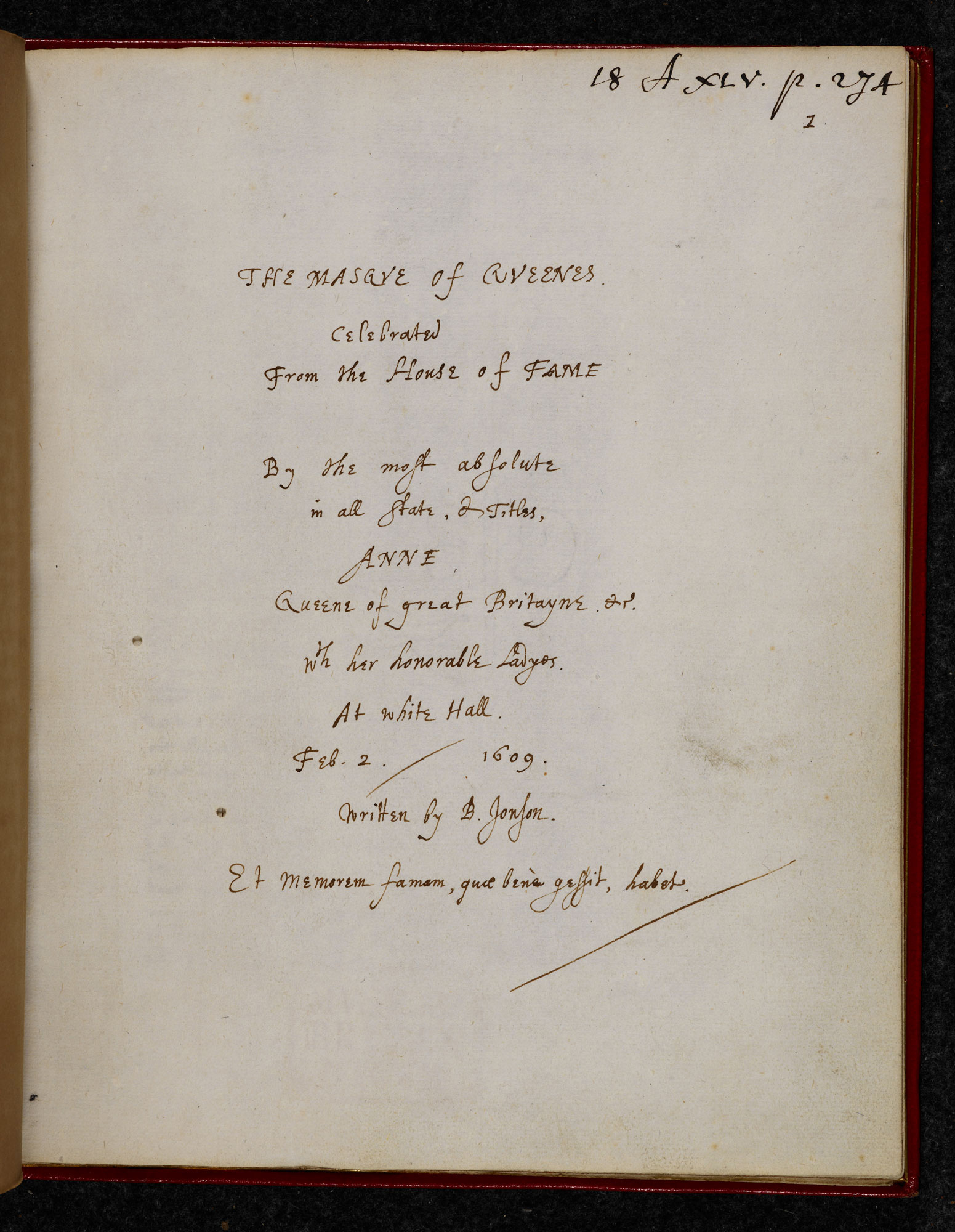Autograph manuscript of Ben Jonson's The Masque of Queens, 1609