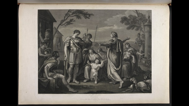 Print depicting characters in Act 5, Scene 3 of Shakespeare's Coriolanus