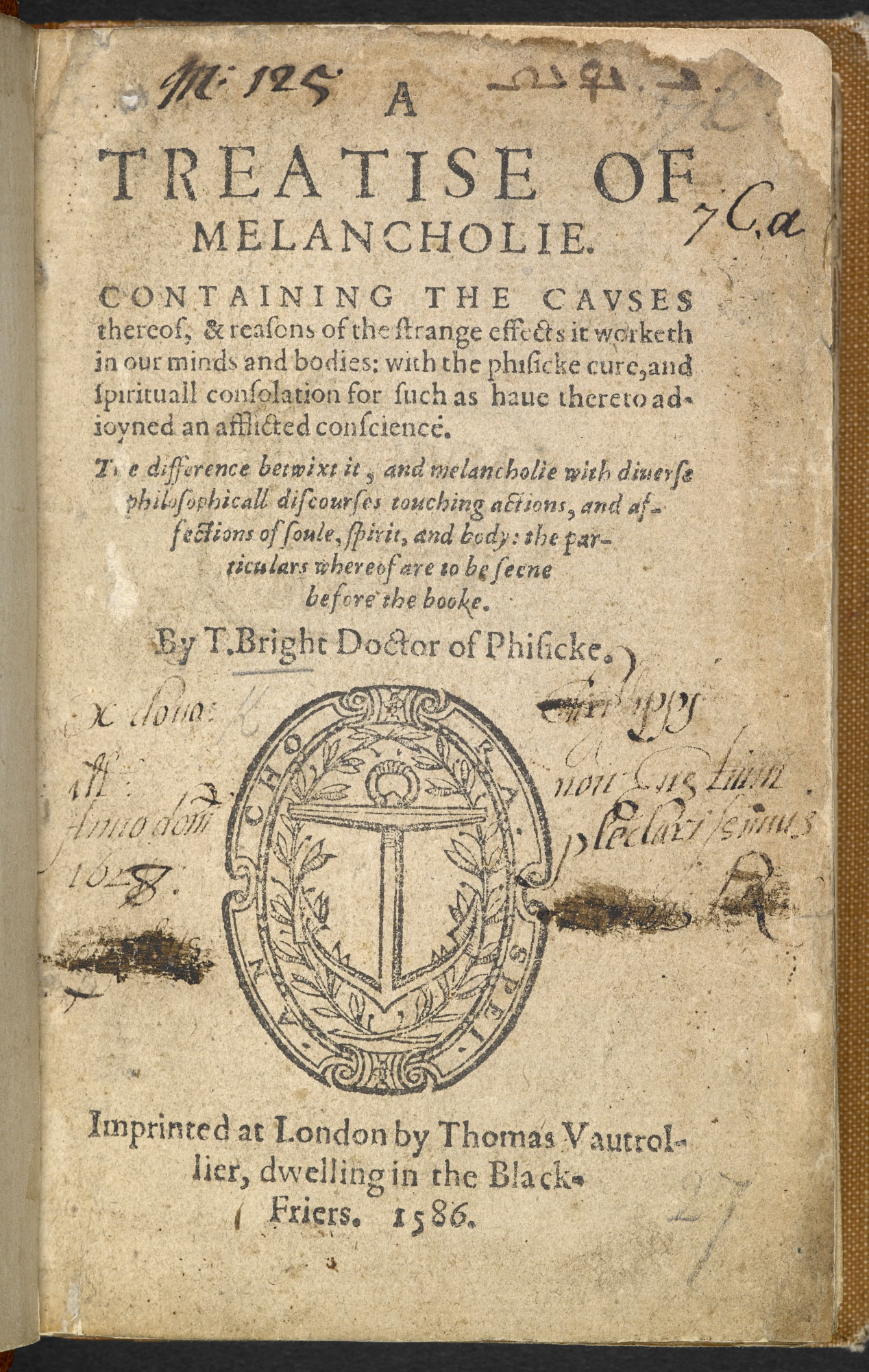 Bright's Treatise of Melancholy, 1586