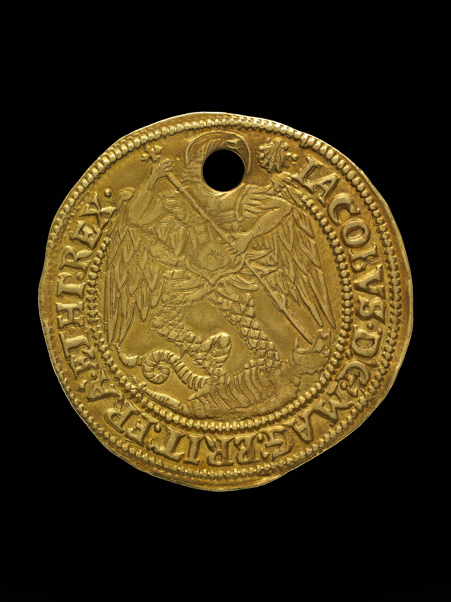 Gold coin used in the ceremony of touching for the king's evil
