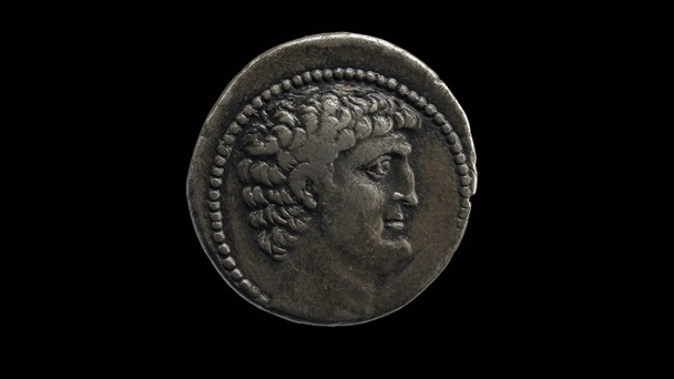 Silver coin with bust of Mark Antony
