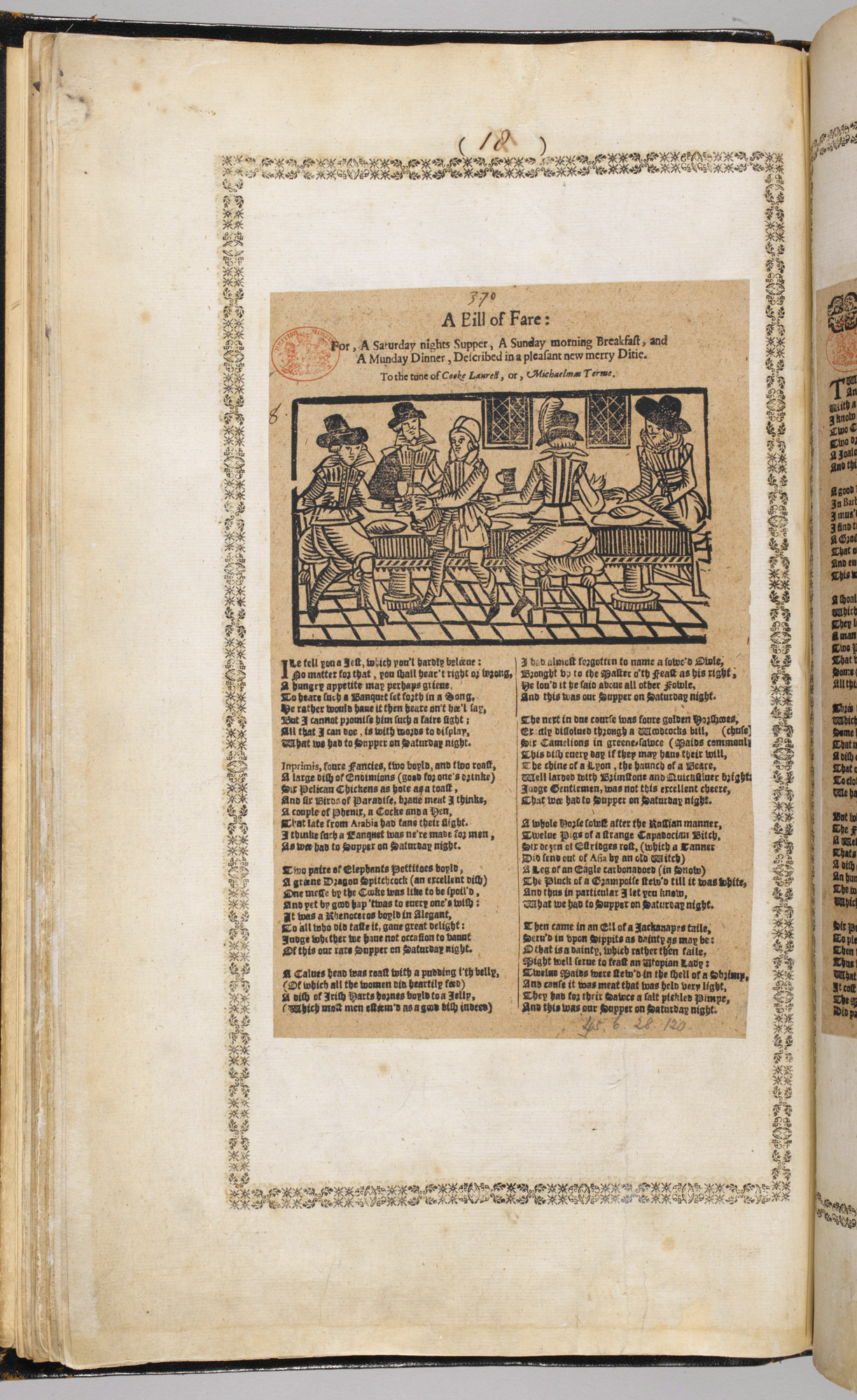 Broadside Ballad 'A Bill of Fare'