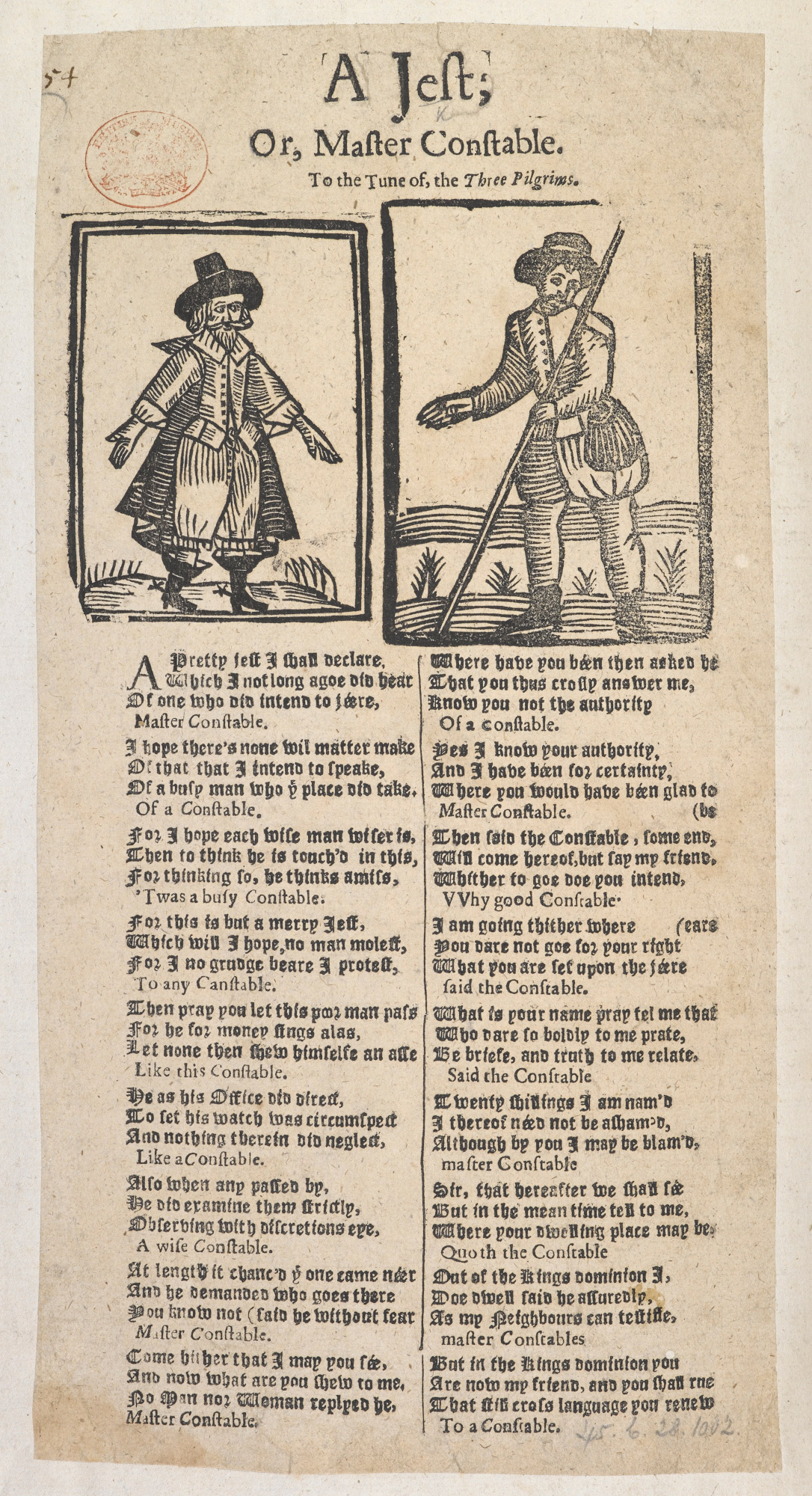 Image of an example broadside ballad. Long page with two wooduct images that each show an illustration of a man. Underneath the images are two columns of the ballad text.