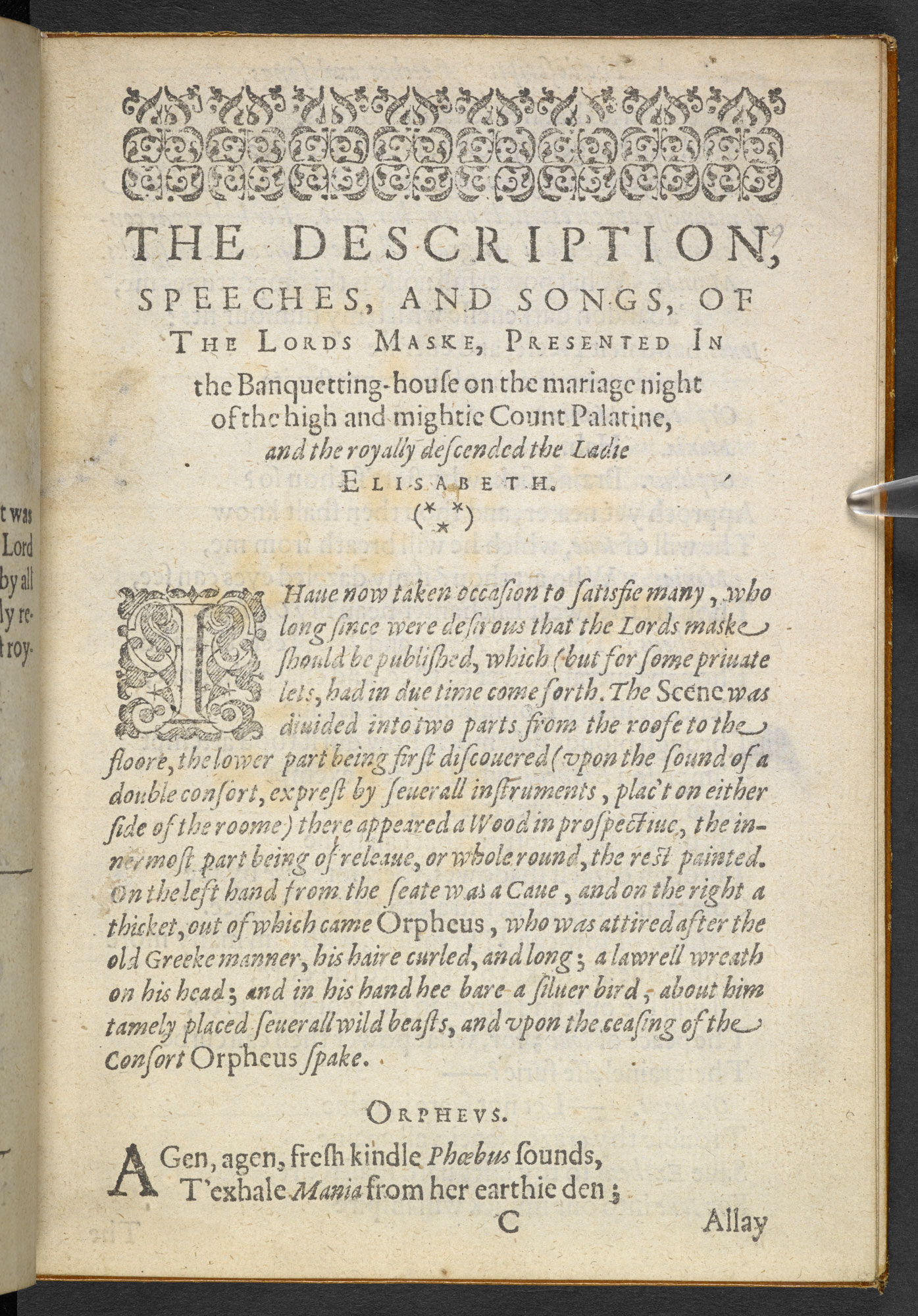 Campion's The Lord's Masque, 1613