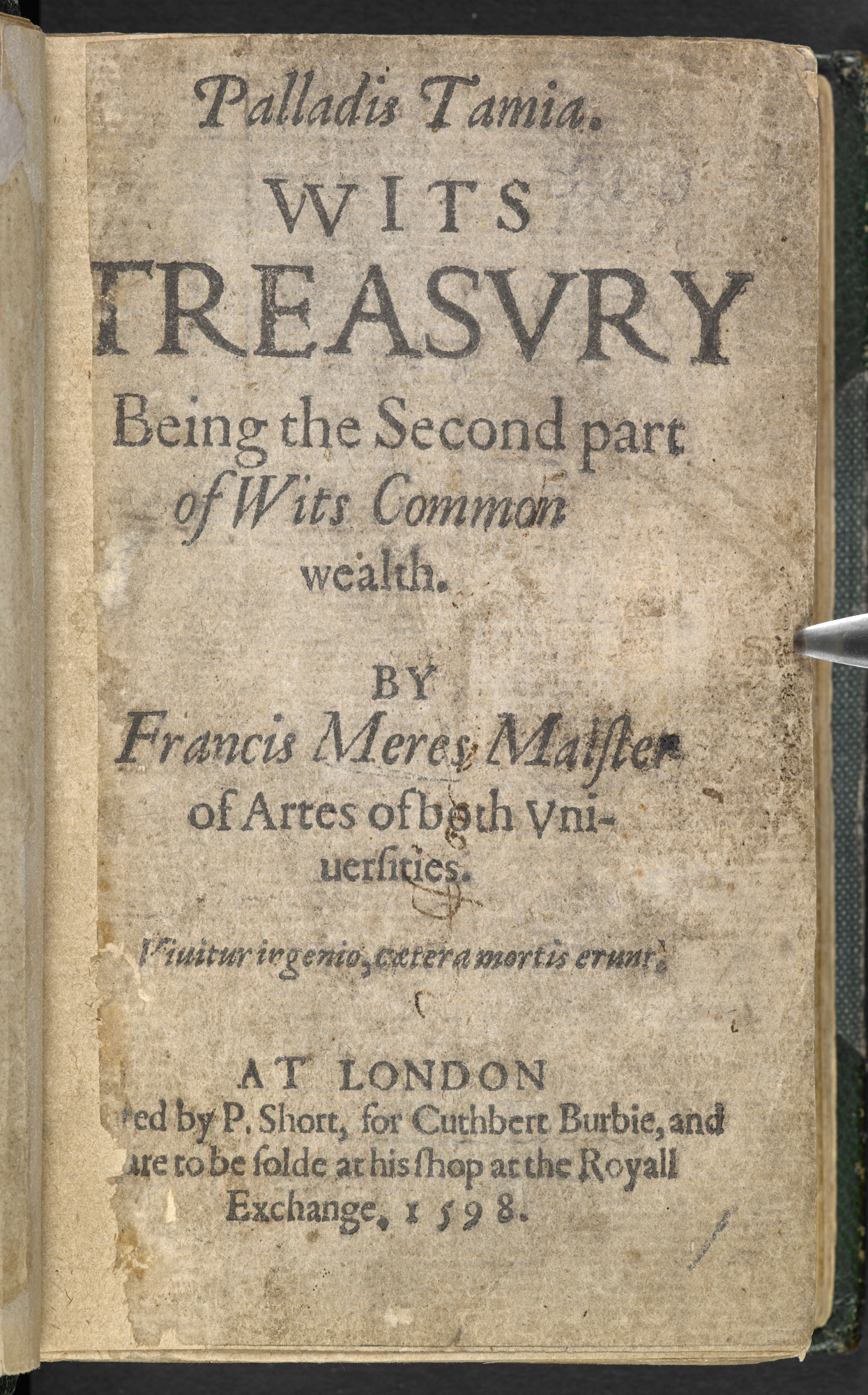 Celebration of Shakespeare in Meres' Wit's Treasury, 1598