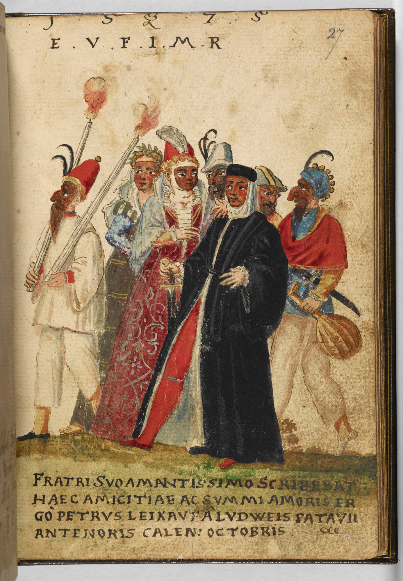 Commedia dell'arte figures in the Friendship Album of Alexander Faber