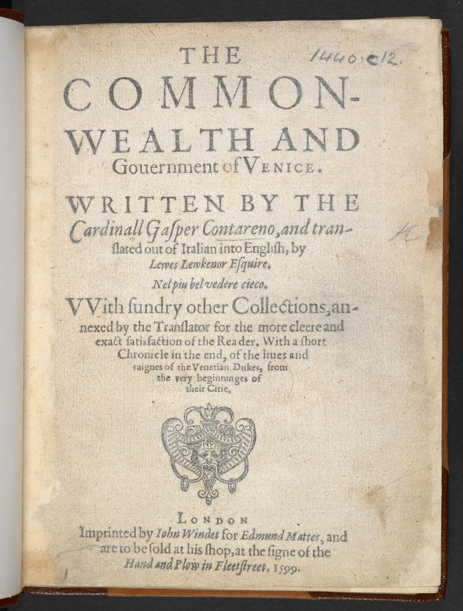 Contarini's Commonwealth and Government of Venice, translated by Lewkenor