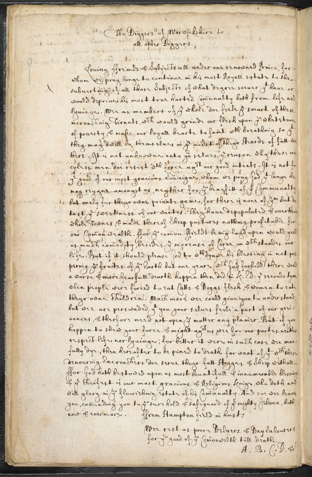 Declaration of the Diggers of Warwickshire, 1607
