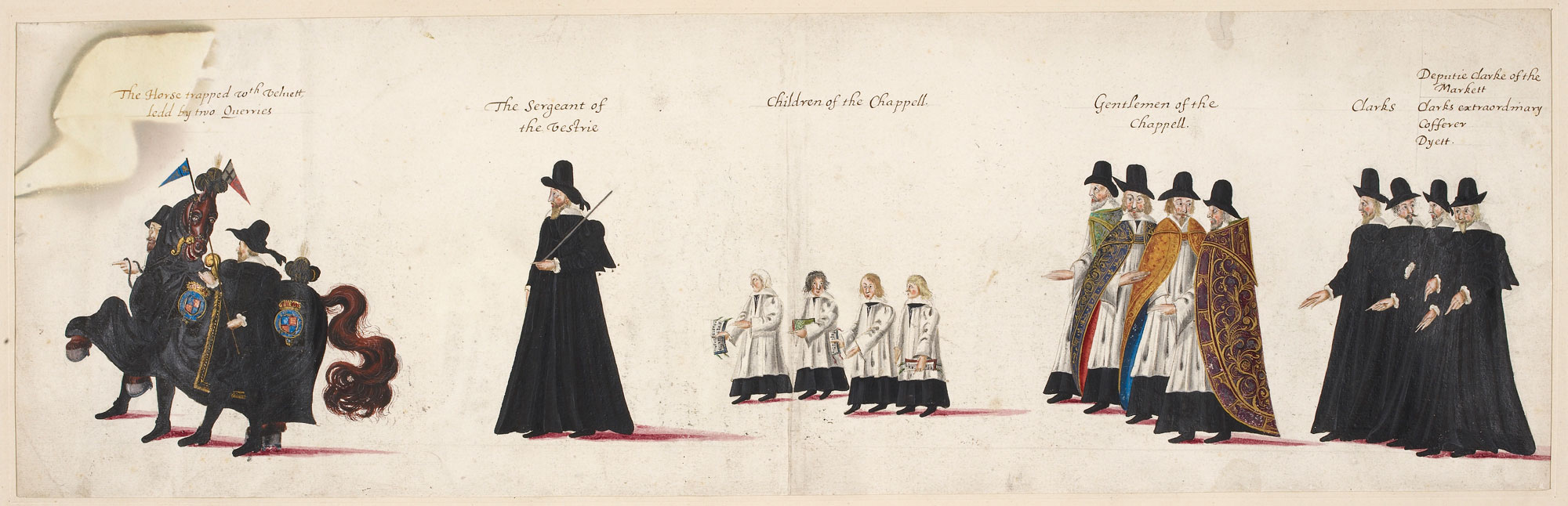 Drawings of the funeral procession of Elizabeth 1