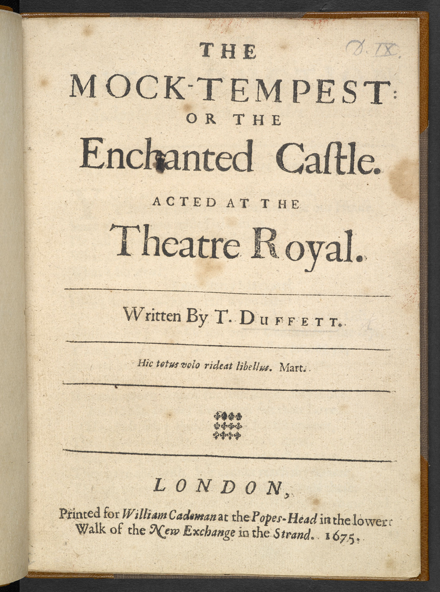 Duffett's burlesque version of The Tempest