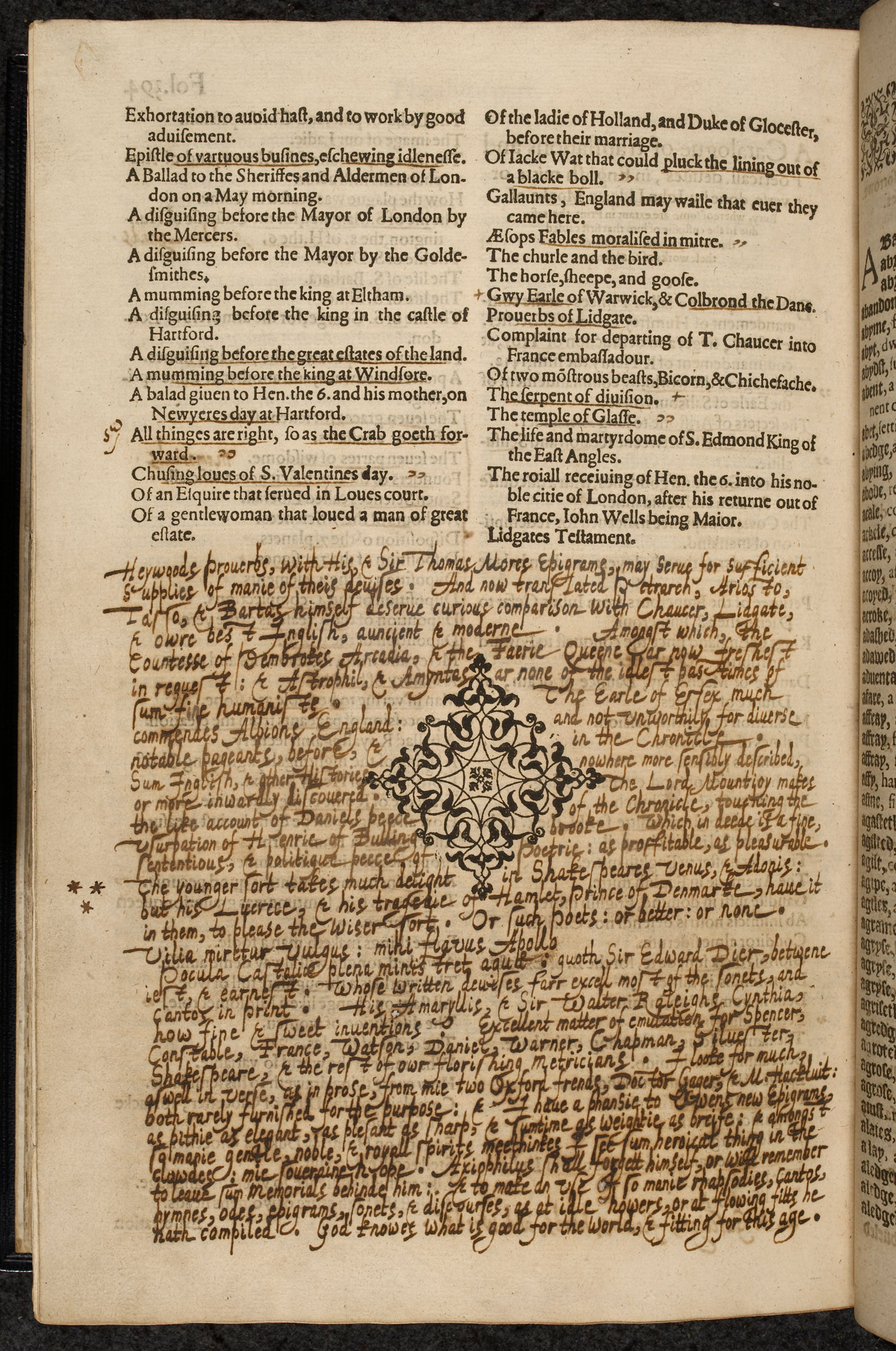 Earliest known reference to Shakespeare's Hamlet in Harvey's copy of