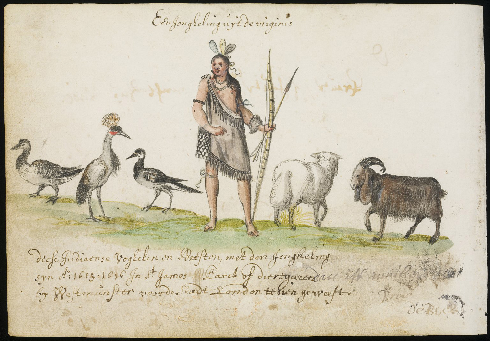A Virginian Indian in St James's Park, from the Friendship Album of Michael van Meer