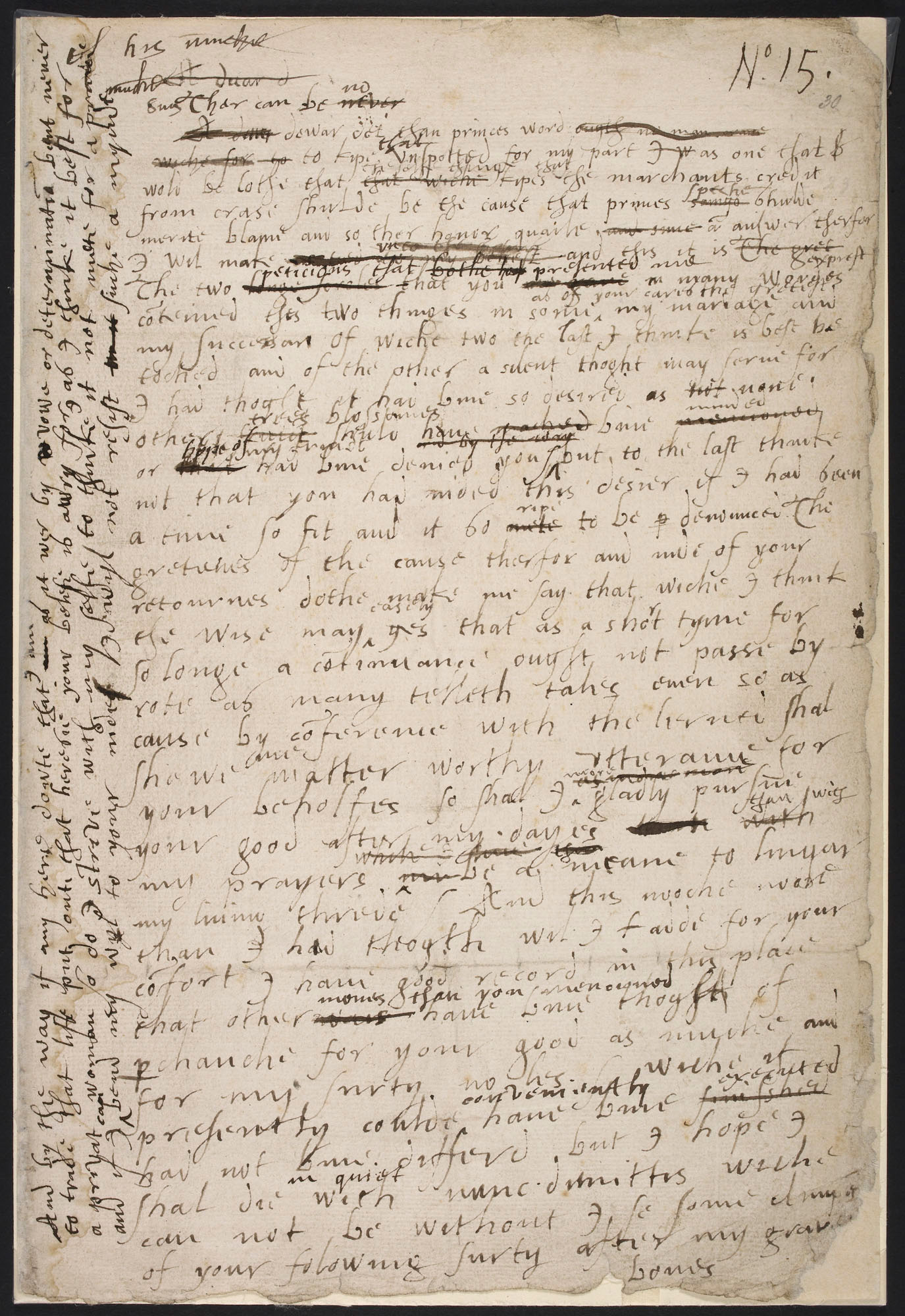 Elizabeth I's manuscript draft of a speech on her marriage, 1563