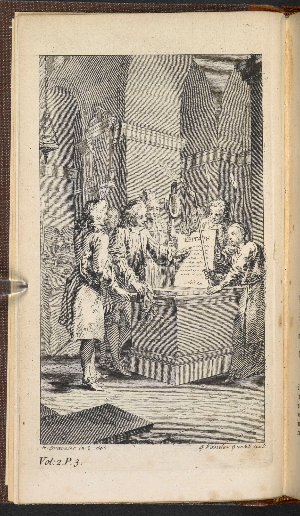 Engraving of the epitaph scene in Much Ado About Nothing in 1740 edition of Shakespeare