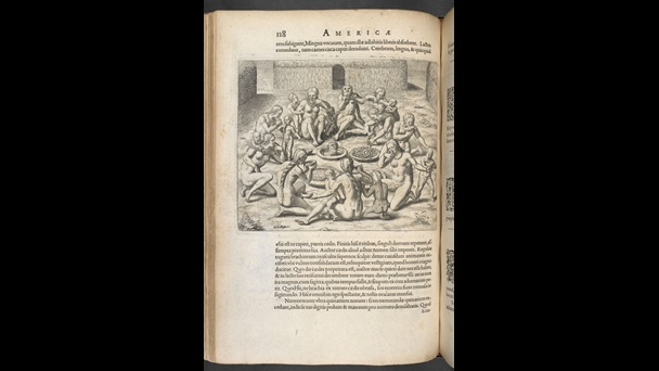 Engravings of Native Americans and Europeans in de Bry's America