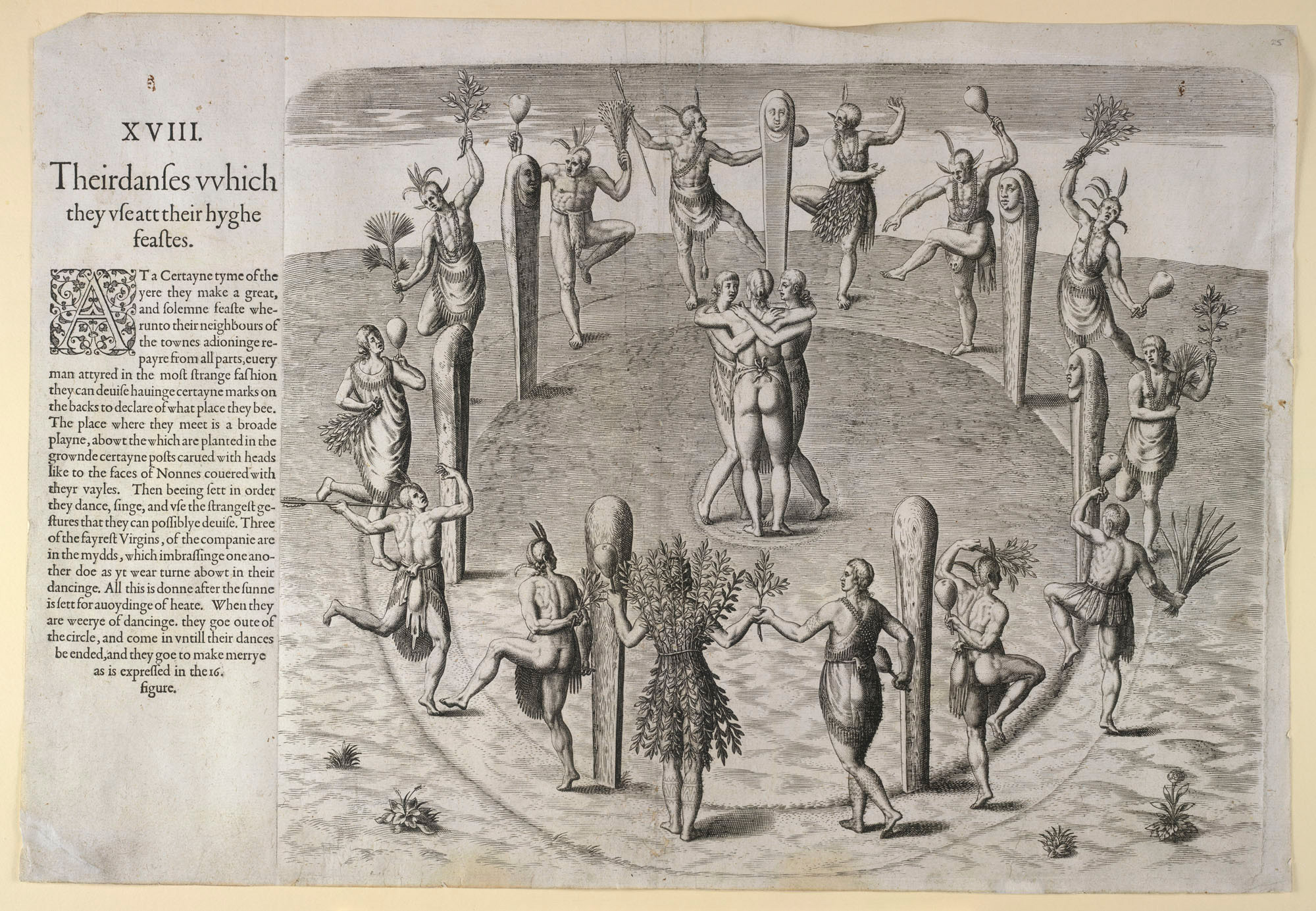 Engravings of Native Americans and Picts in Harriot's A Brief and True Report, 1590