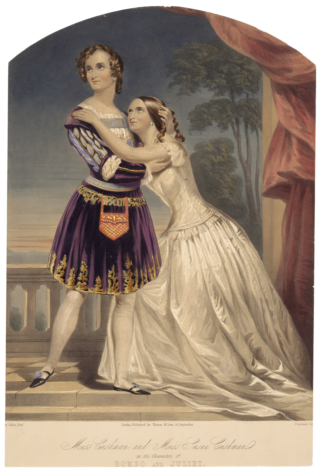 Lithograph of the Cushman sisters as Romeo and Juliet