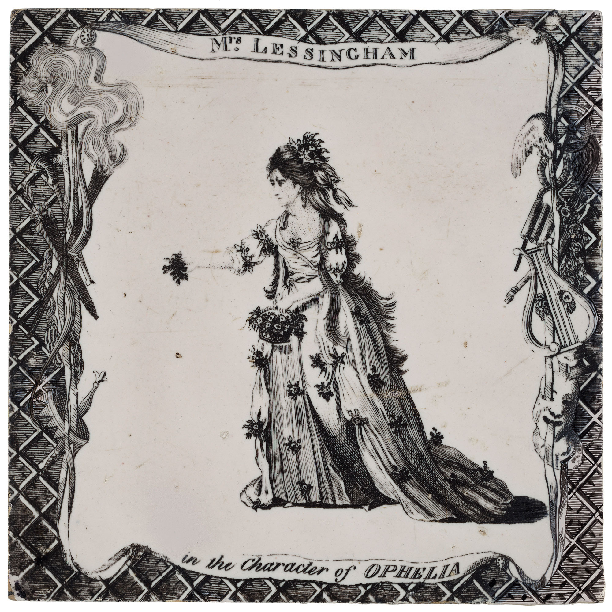 Tile showing Mrs Lessingham as Ophelia