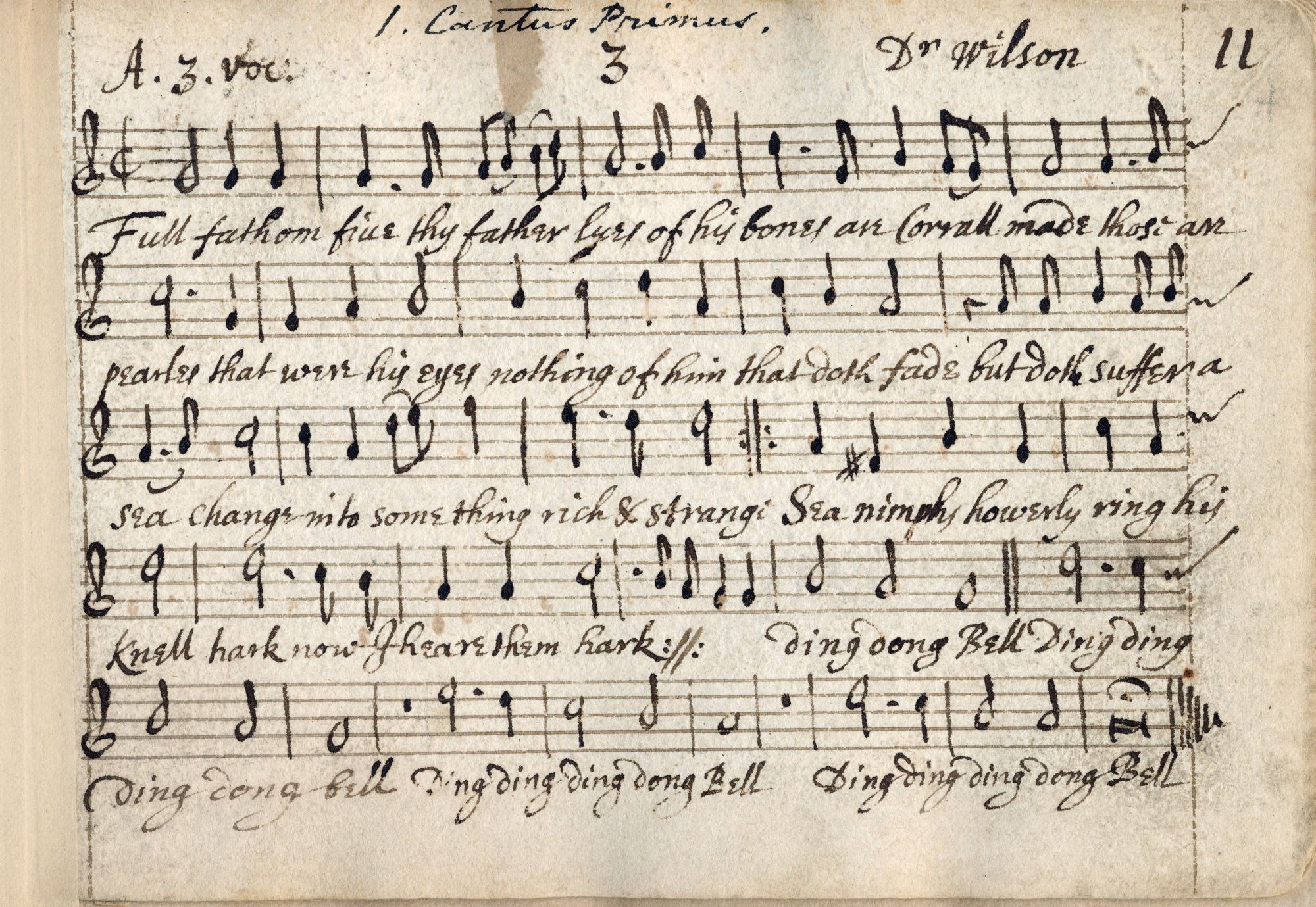 John Playford manuscript of songs from The Tempest by John Wilson, c.1660-67