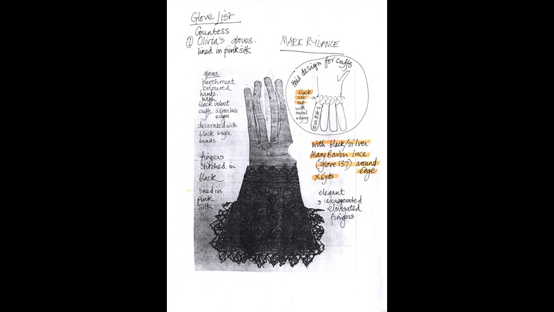 Glove design in Costume Bible from Shakespeare's Globe's production of Twelfth Night, 2002