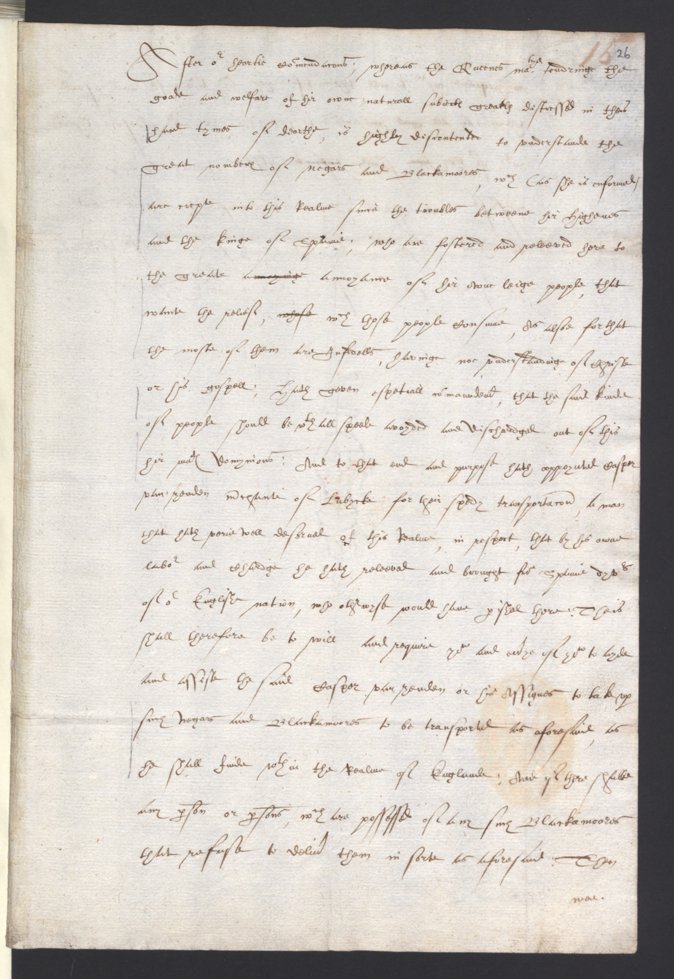 Draft proclamation on the expulsion of 'Negroes and Blackamoors', 1601