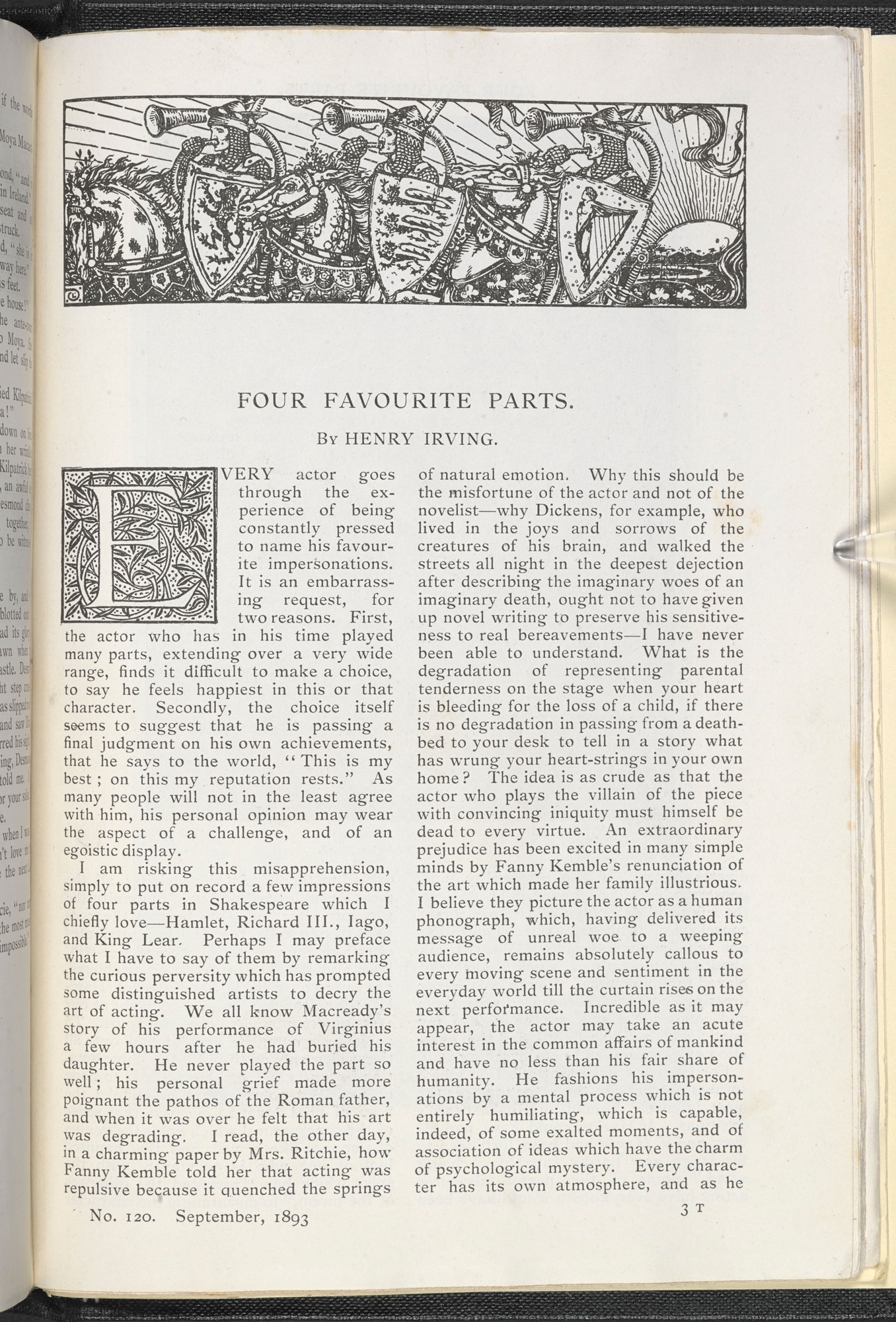 Henry Irving on his 'Four Favourite Parts' in English Illustrated Magazine, 1893