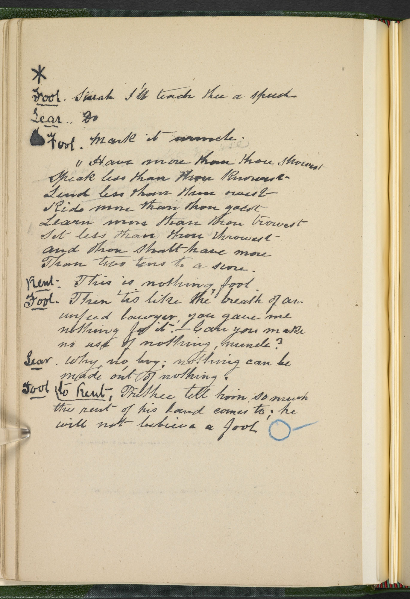 Annotated Playscript from Henry Irving's Coriolanus