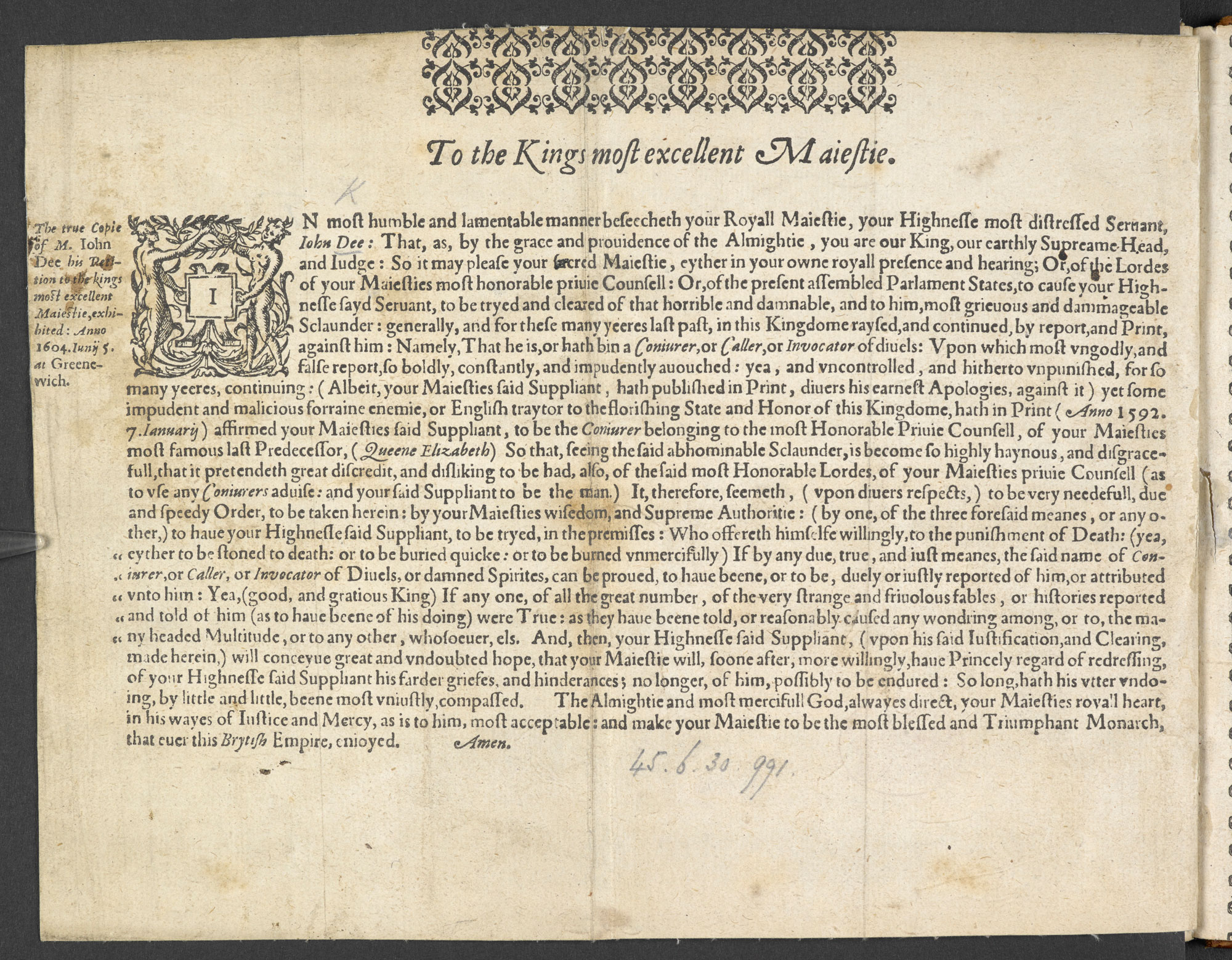 John Dee's petition to James I asking to be cleared of accusations of conjuring, 1604