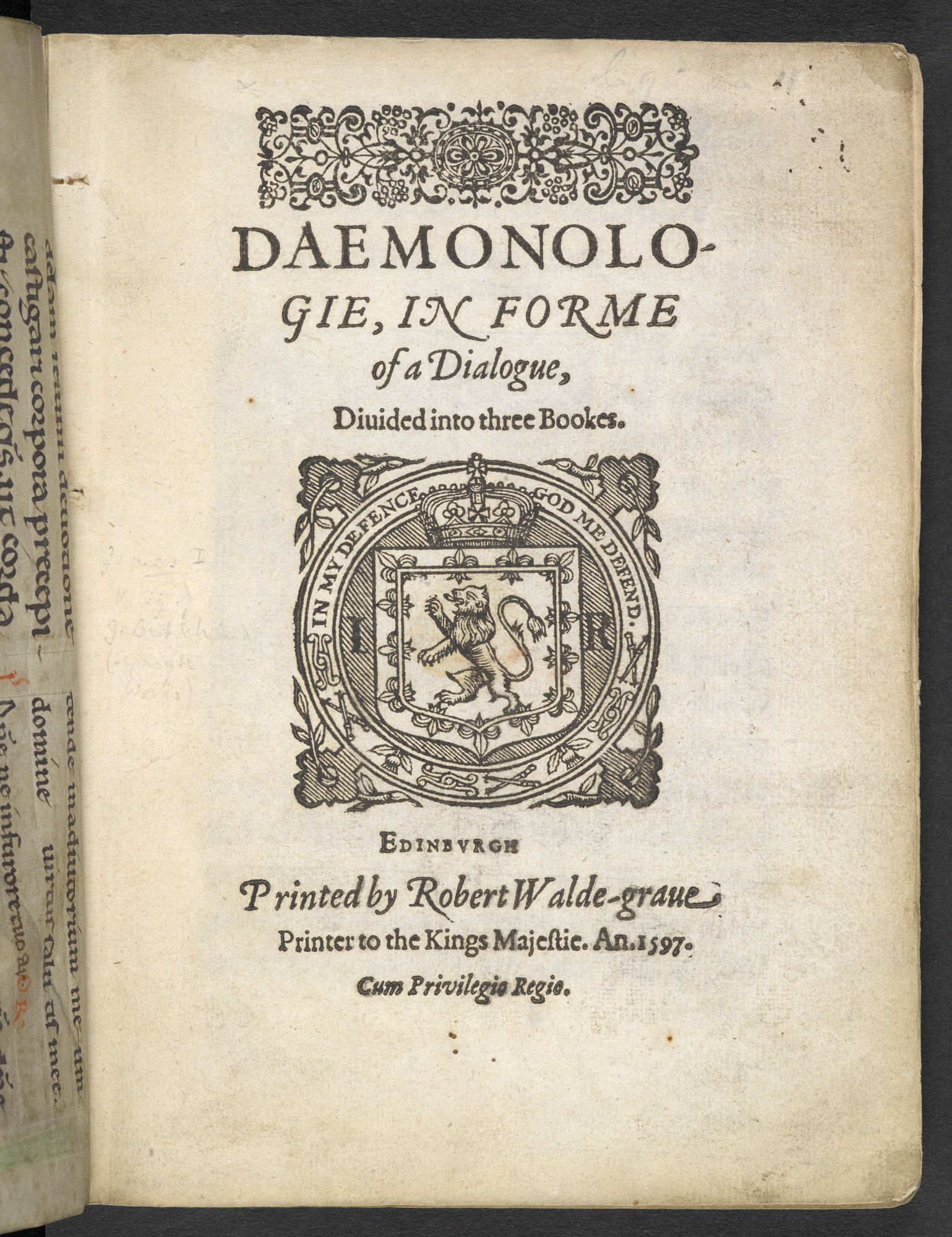 An image of the front page of Daemonologie, a book largely responsible for the 17th century witch hunts.