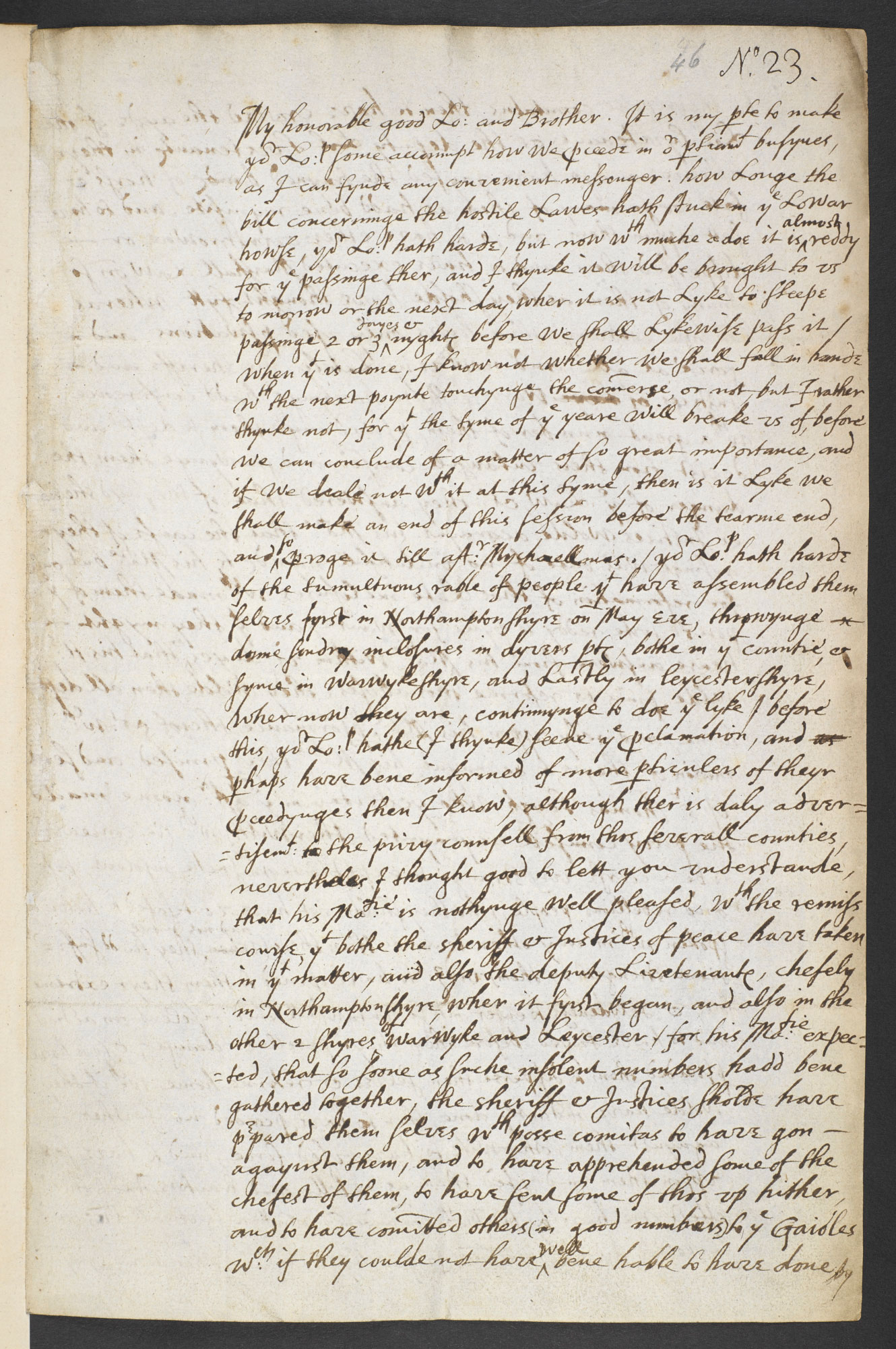 Letter from the Earl of Shrewsbury on the Midland Revolt, 1607