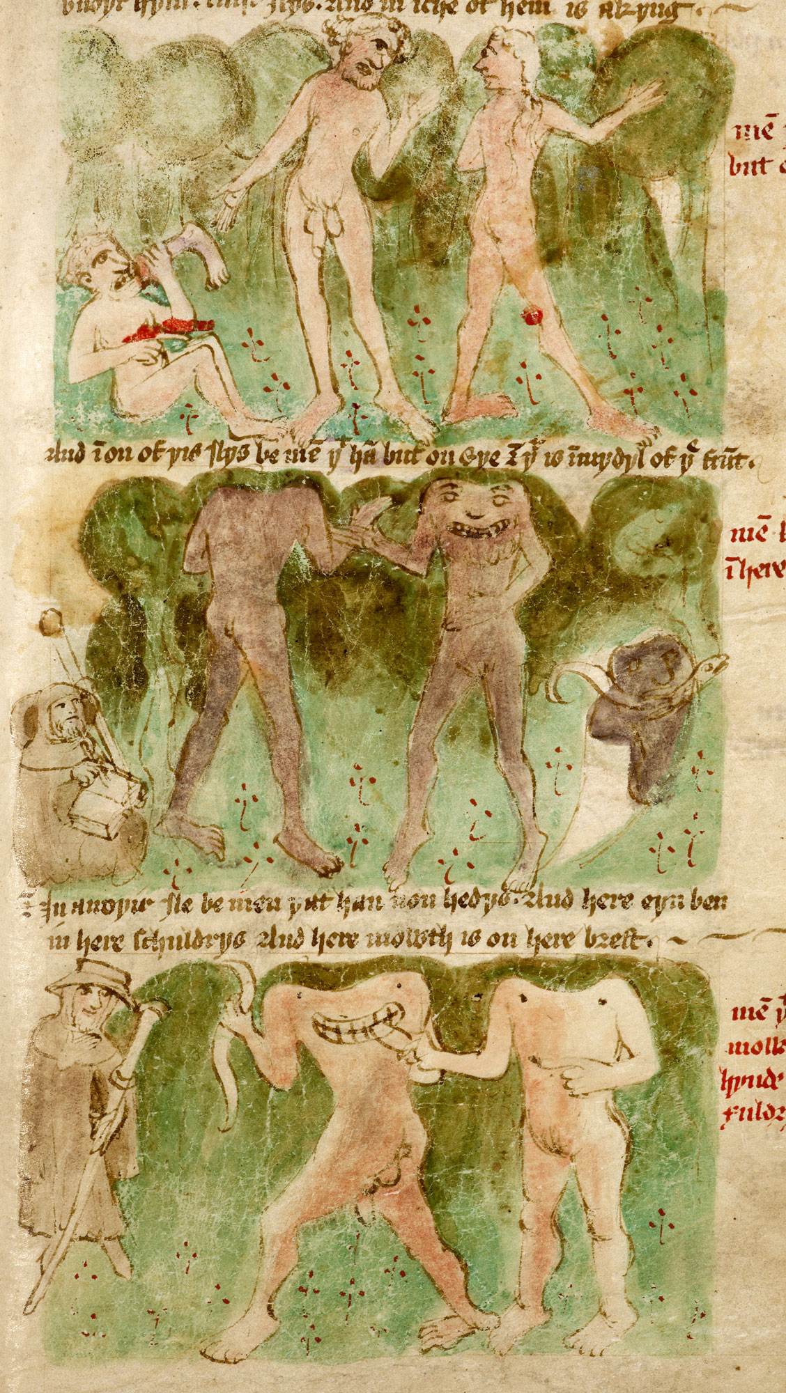Manuscript of Mandeville's Travels showing headless men, 1430