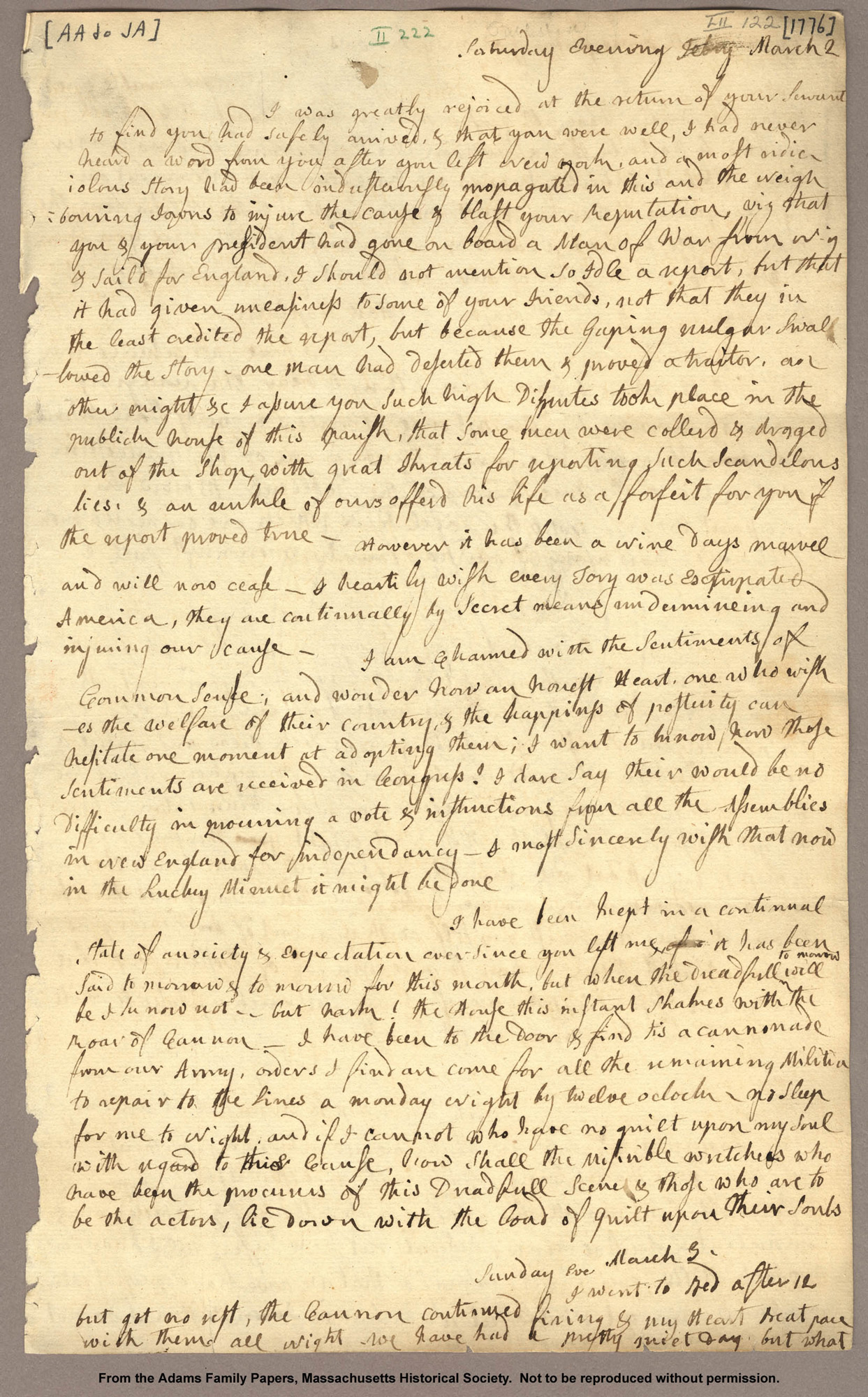 Letter from Abigail Adams to John Adams, 1776, quoting Julius Caesar