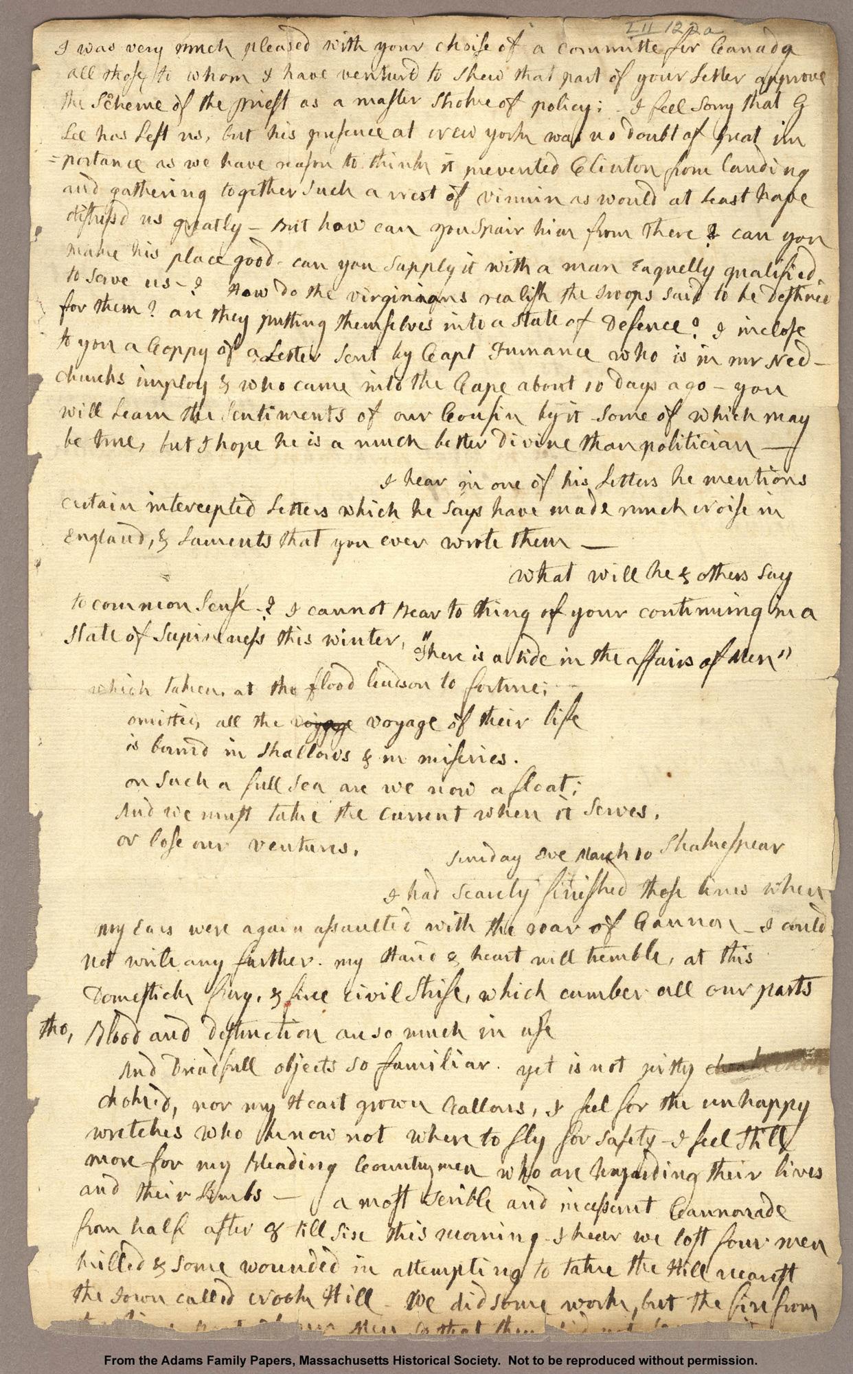 Letter from Abigail Adams to John Adams, 1776, quoting Julius Caesar