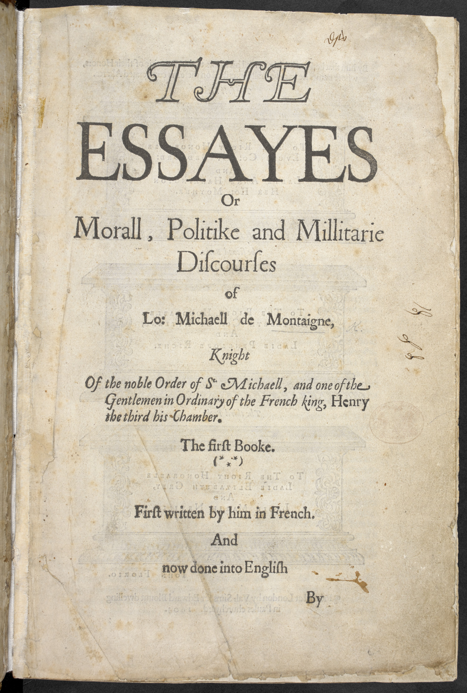 montaignes essays translated by florio   the british library