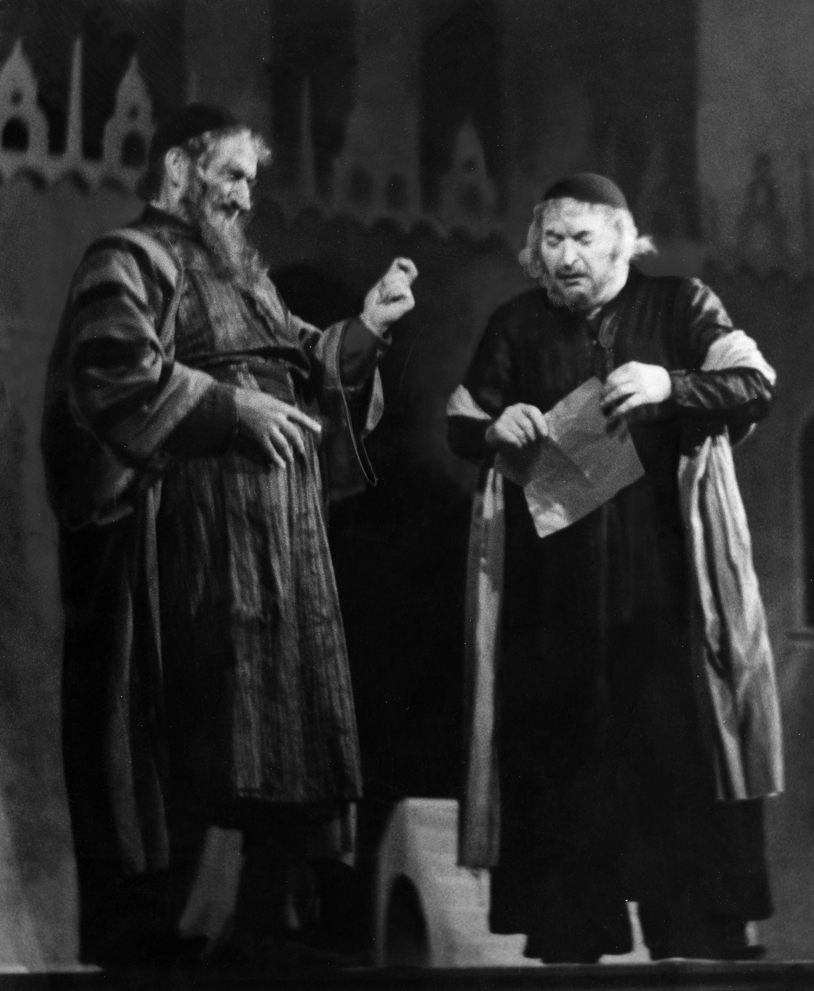 Production photograph of the notorious 1943 production of The Merchant of Venice directed by Nazi Party member, Lothar Muthel