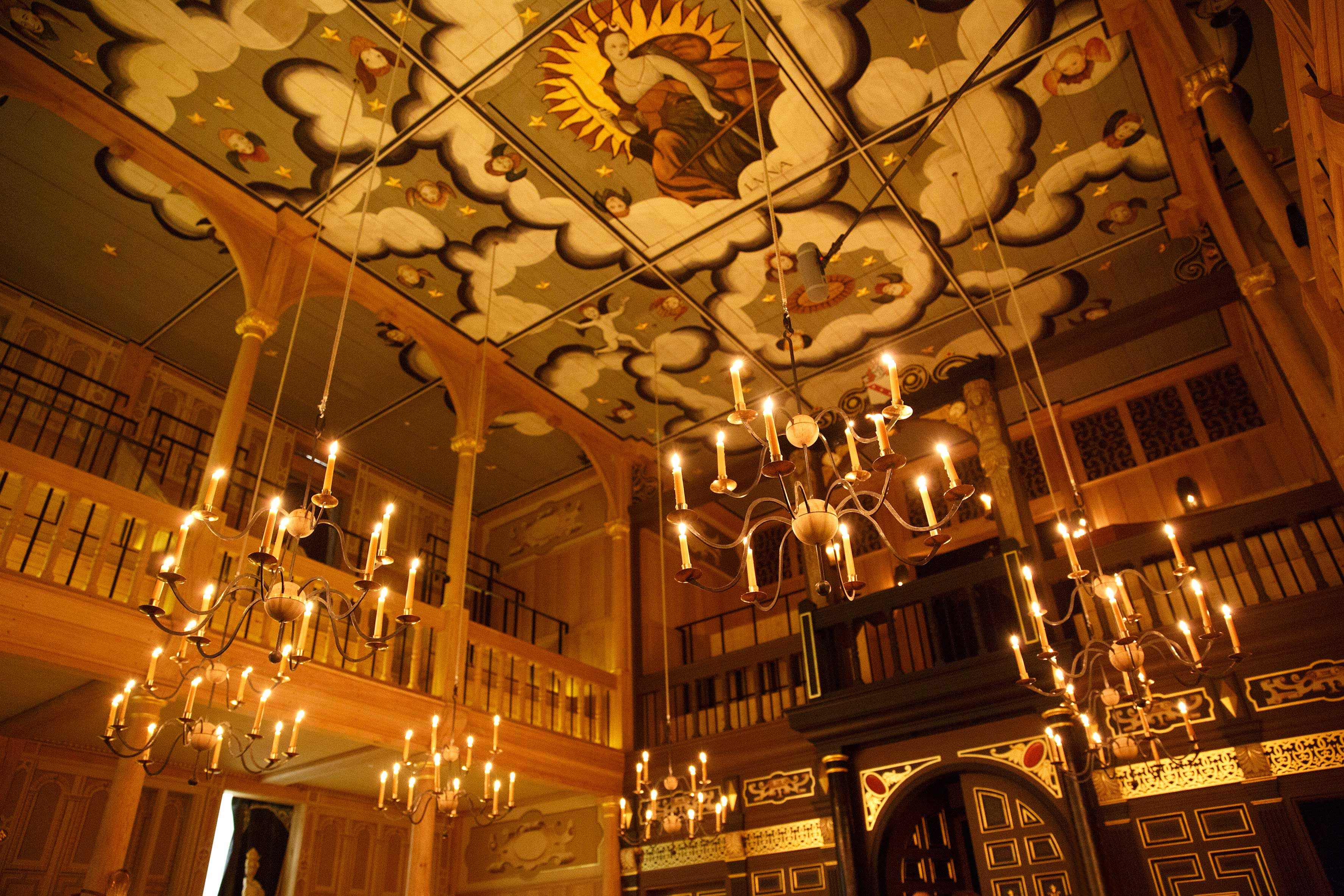 Photograph of the interior of the Sam Wanamaker Playhouse, London