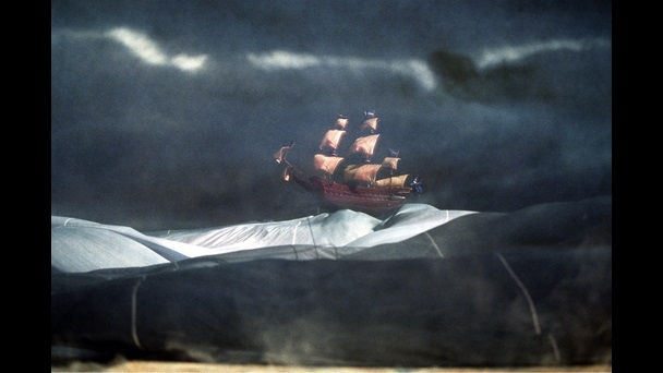 Photograph of a model ship in a storm used in The Tempest, 1998