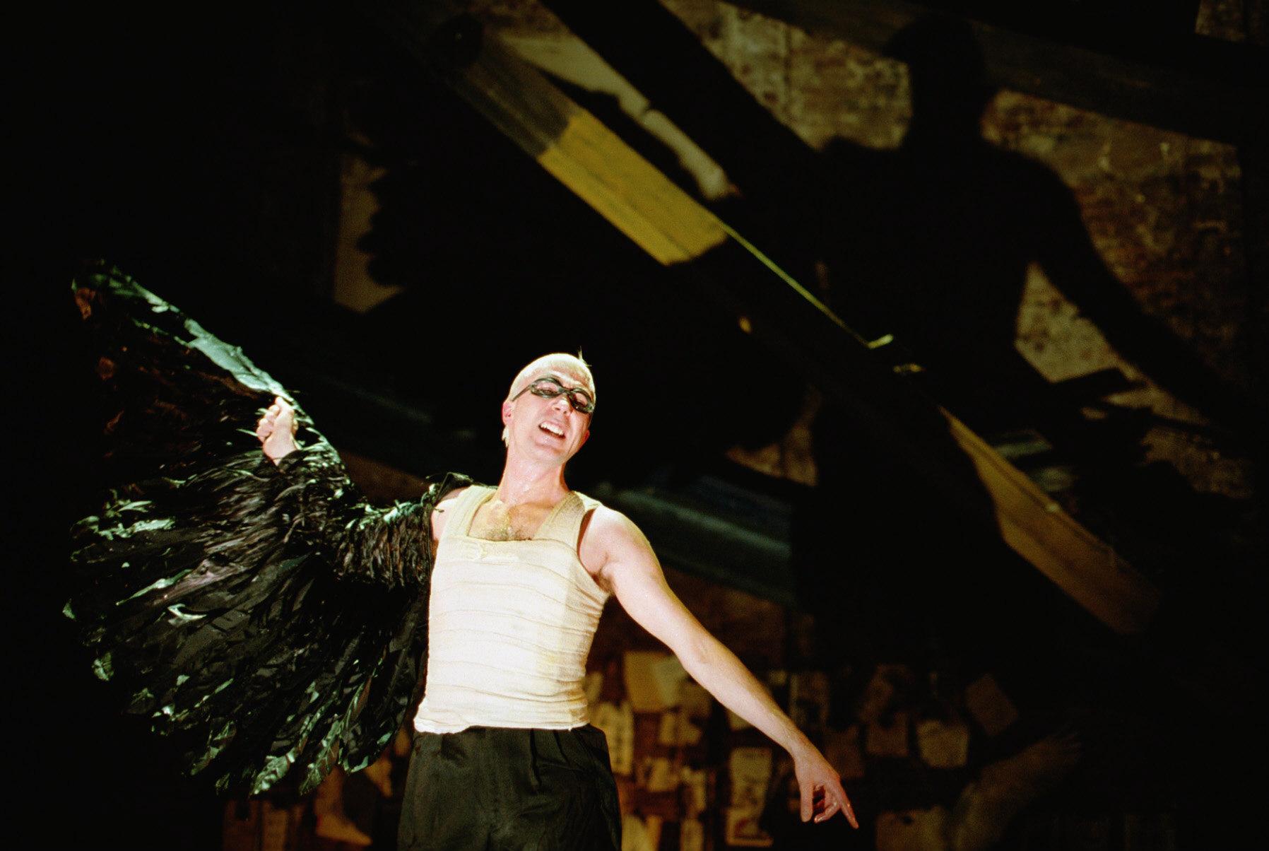 Photograph of Aidan Gillen as Ariel in The Tempest, 2000