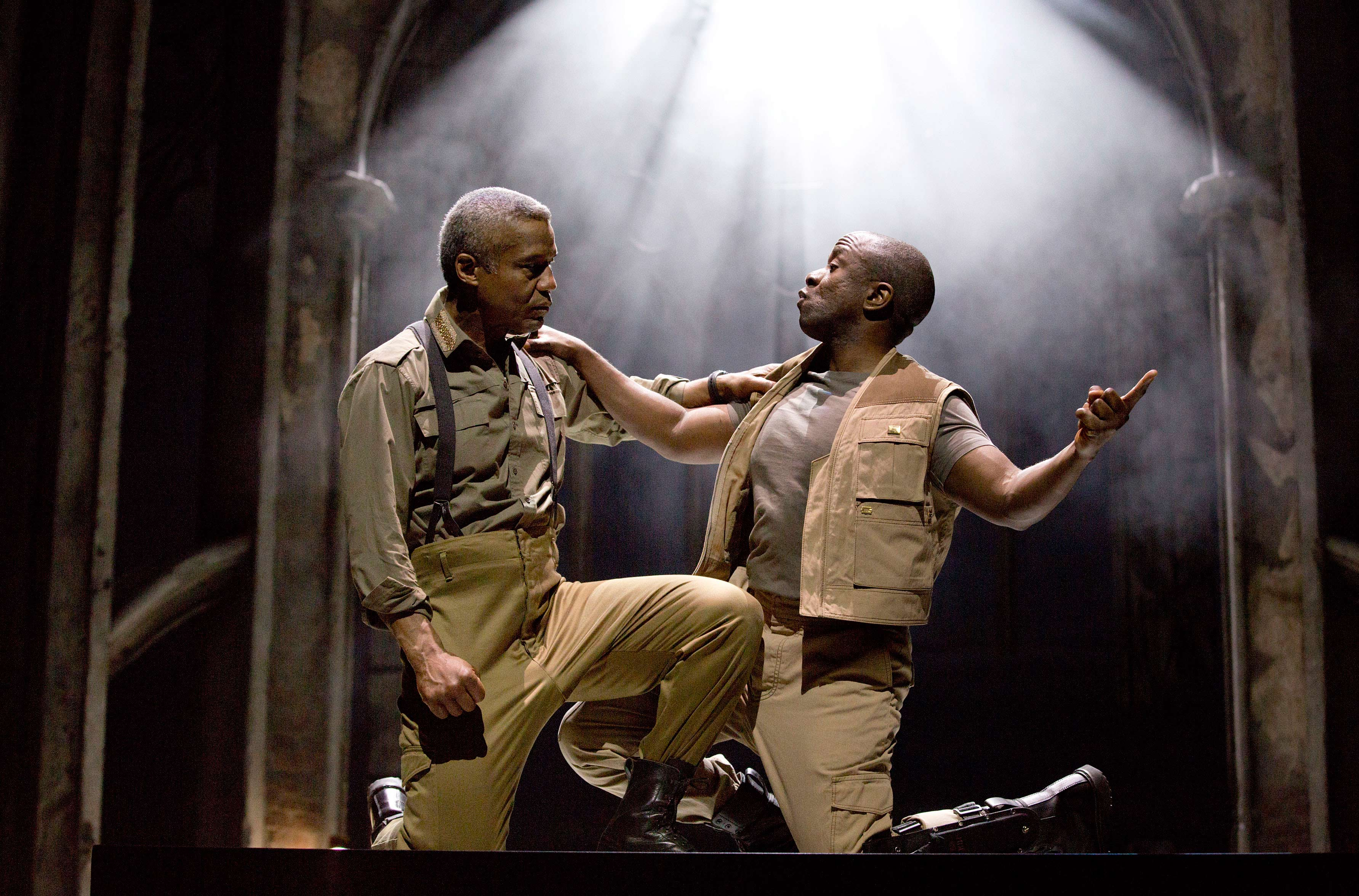 Photograph of Hugh Quarshie and Lucian Msamati in Othello, 2015