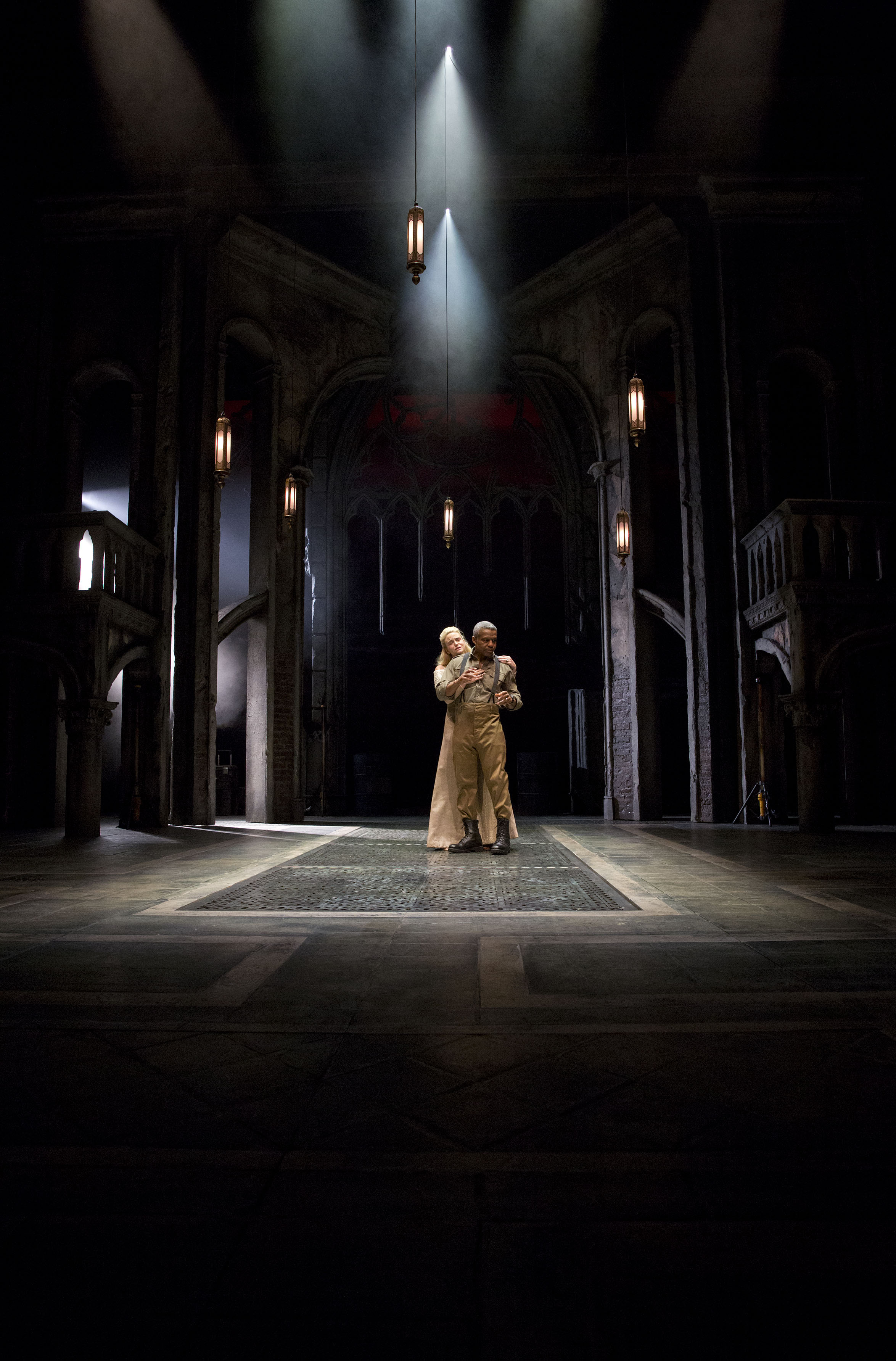 Photograph of Hugh Quarshie and Joanna Vanderham in Othello, 2015