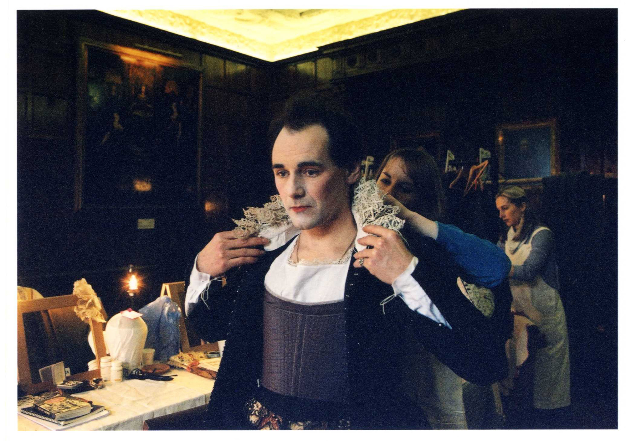 Photograph of Mark Rylance in Olivia costume in Shakespeare's Globe's production of Twelfth Night, 2002