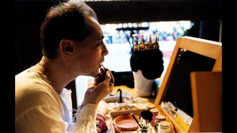 Photograph of Mark Rylance applying cosmetics for Shakespeare's Globe's production of Twelfth Night